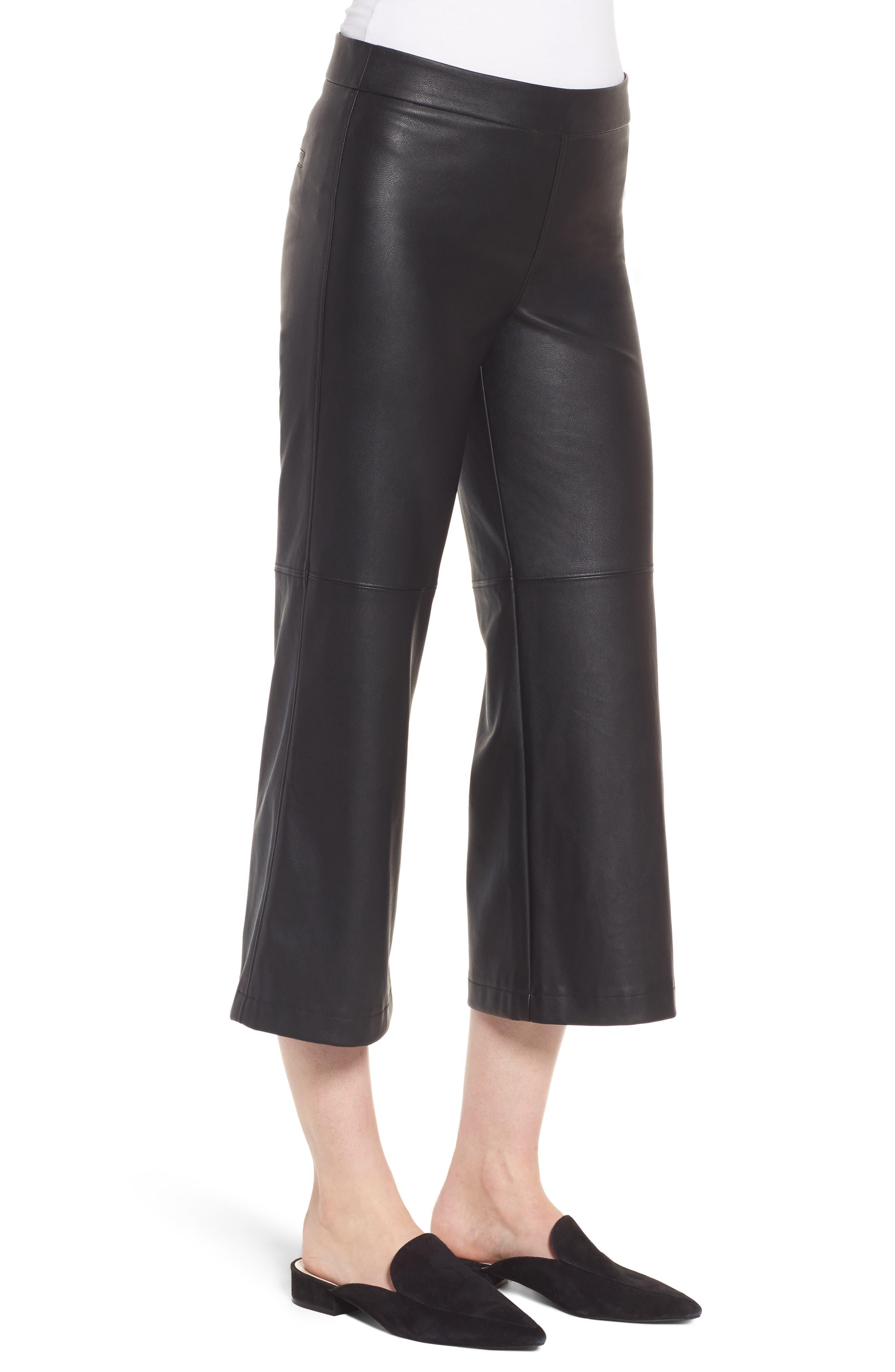 Varick Wide Leg Faux Leather Culottes,                             Alternate thumbnail 3, color,                             Black