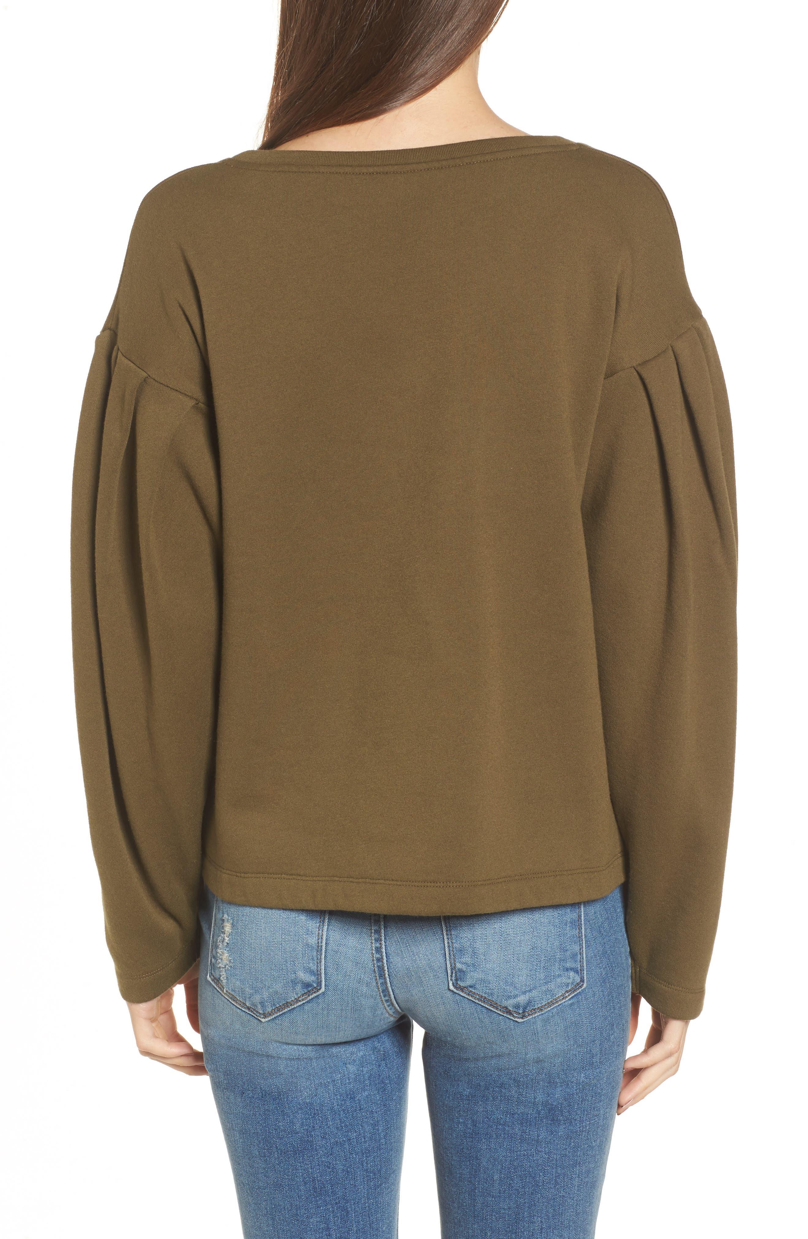 Pleat Sleeve Sweater,                             Alternate thumbnail 2, color,                             Olive Dark