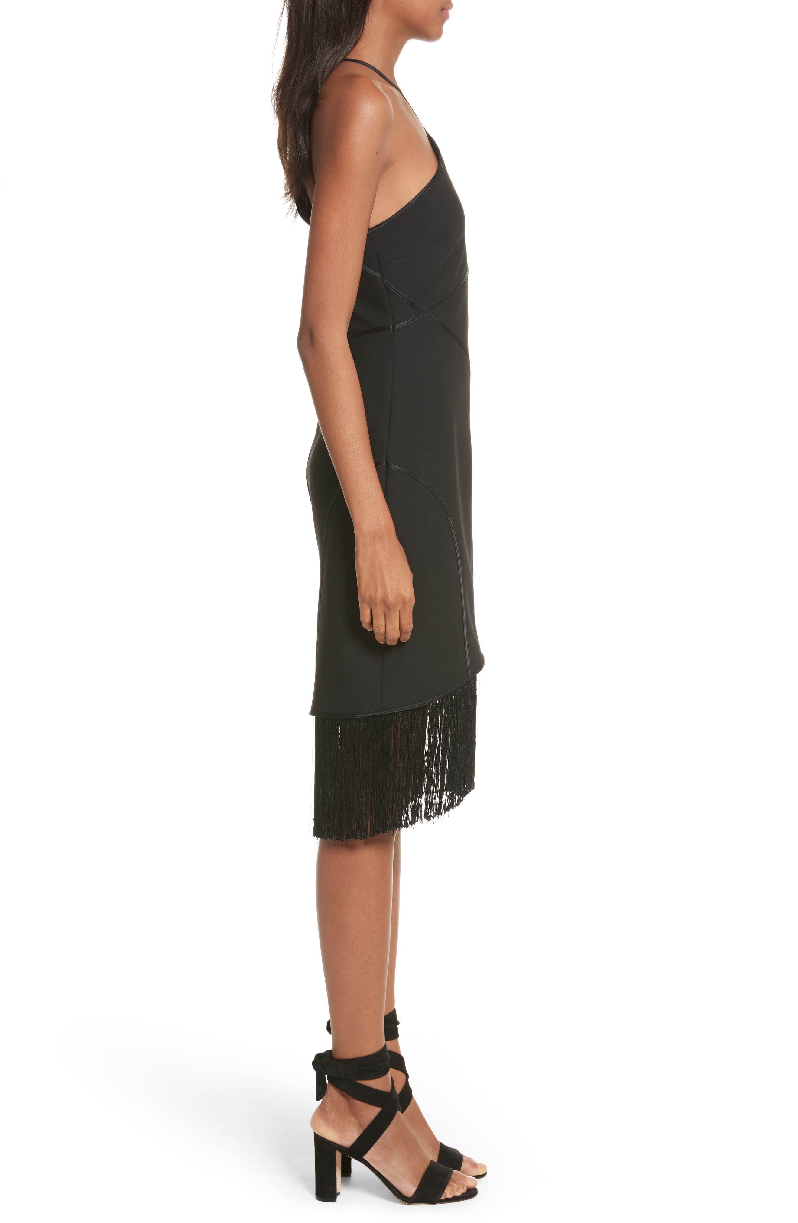 Bryn Halter Dress,                             Alternate thumbnail 3, color,                             Black