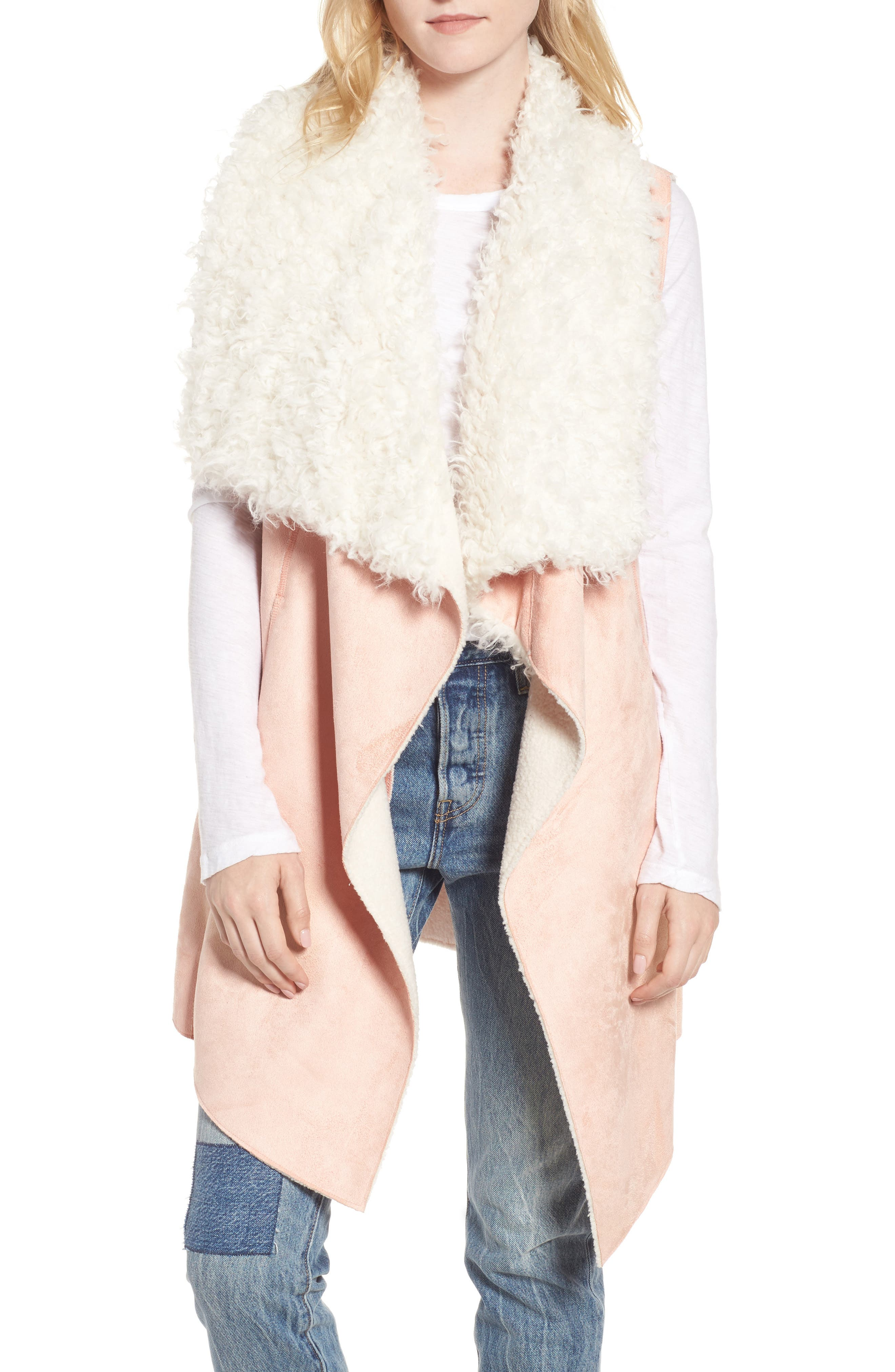 Dawn Maxi Fly Away Faux Shearling Vest,                         Main,                         color, Pink