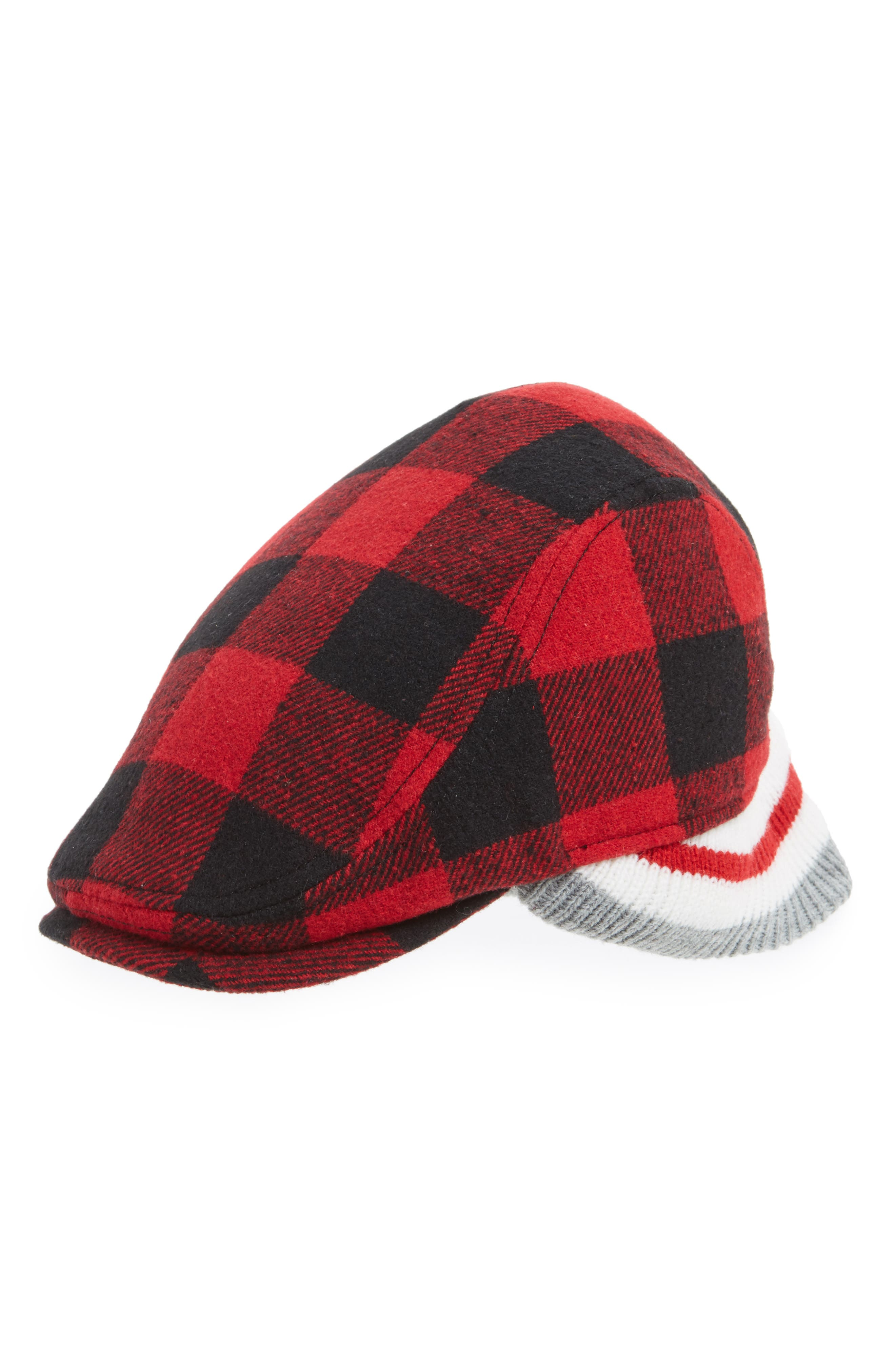 Buffalo Driving Cap,                         Main,                         color, Red/ Black