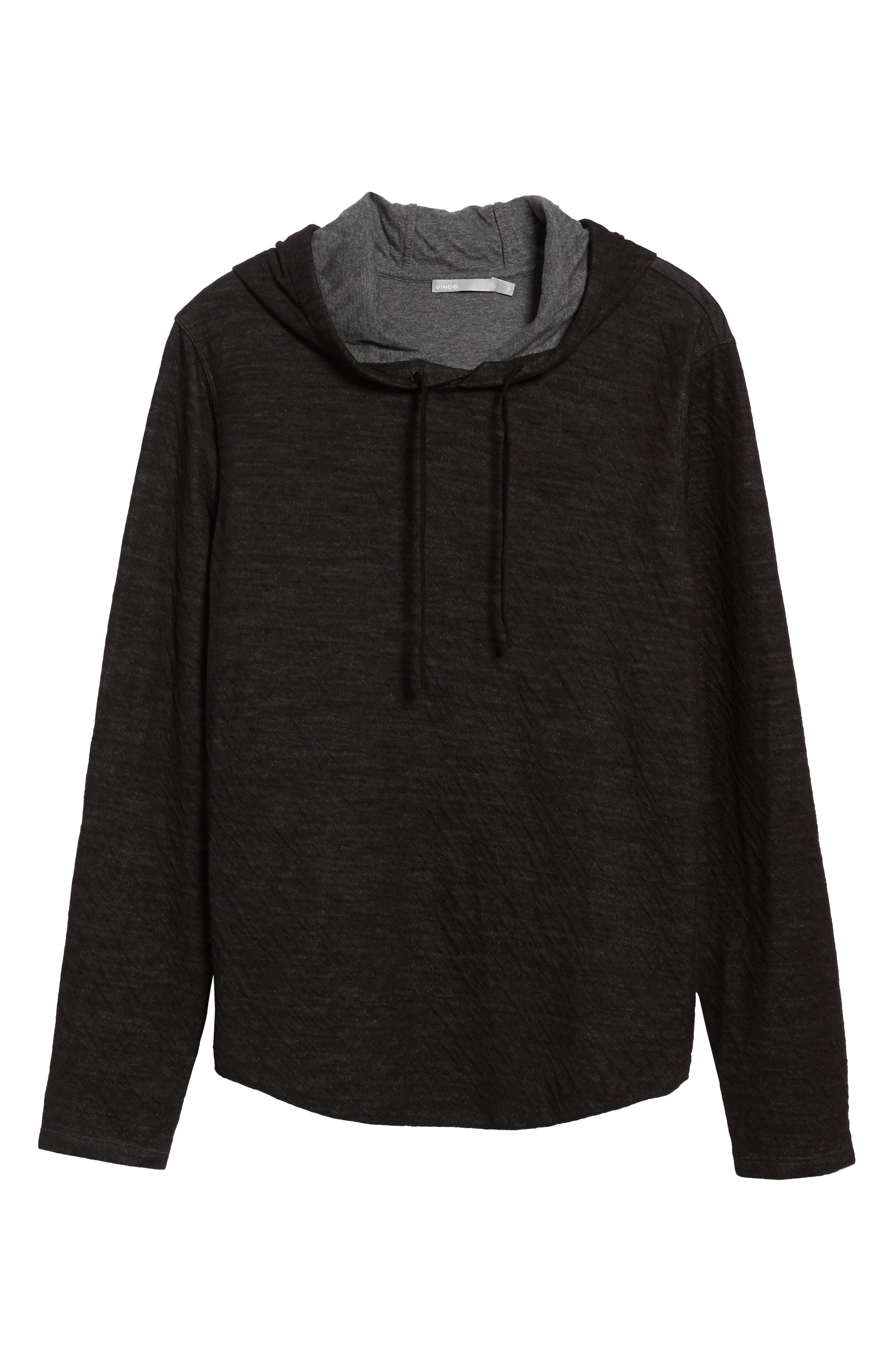 Contrast Double Knit Cotton & Wool Hoodie,                             Alternate thumbnail 6, color,                             Black/ H Carbon