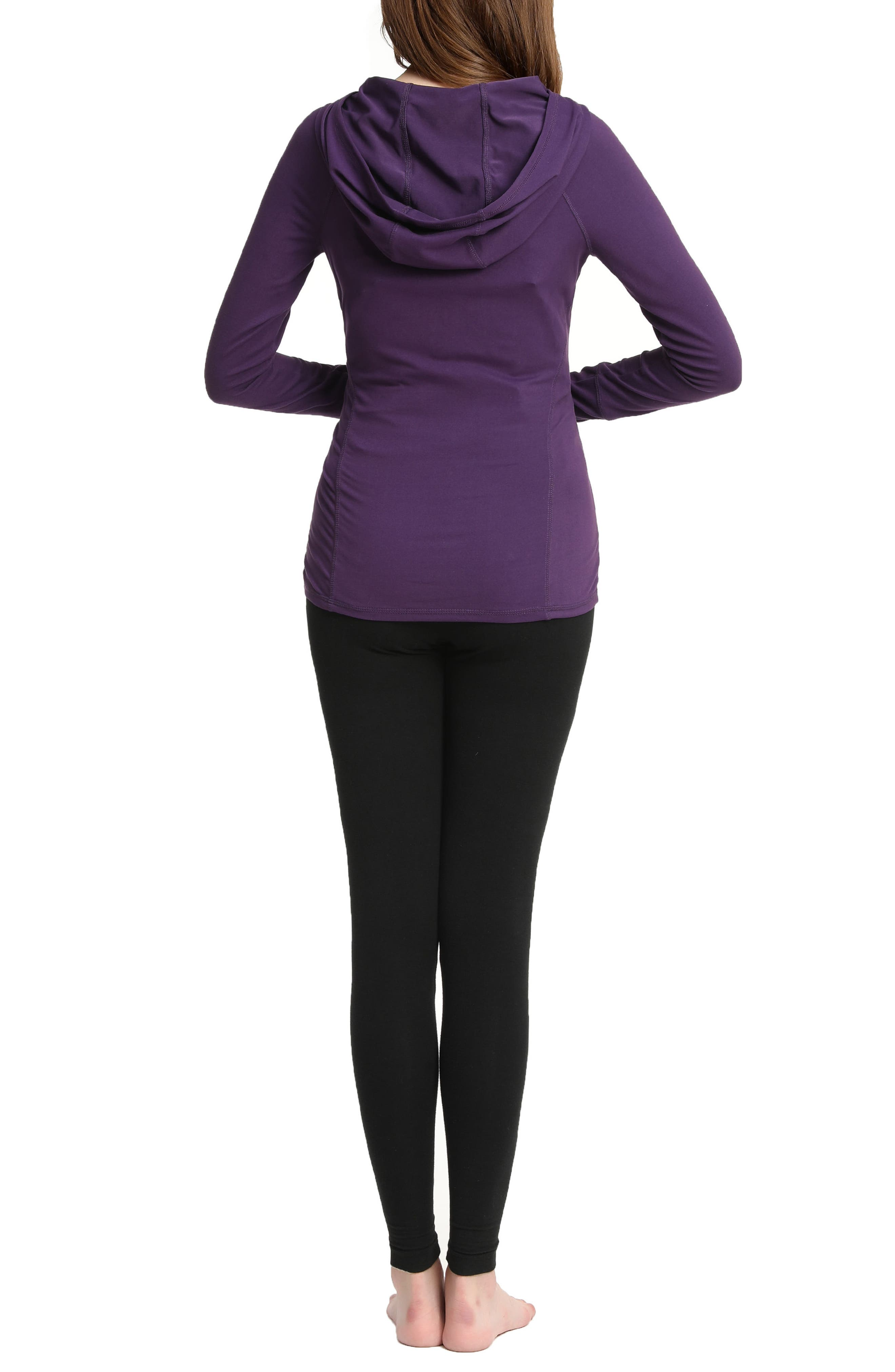 Kimi & Kai Kelly Ruched Maternity Hoodie,                             Alternate thumbnail 2, color,                             Purple