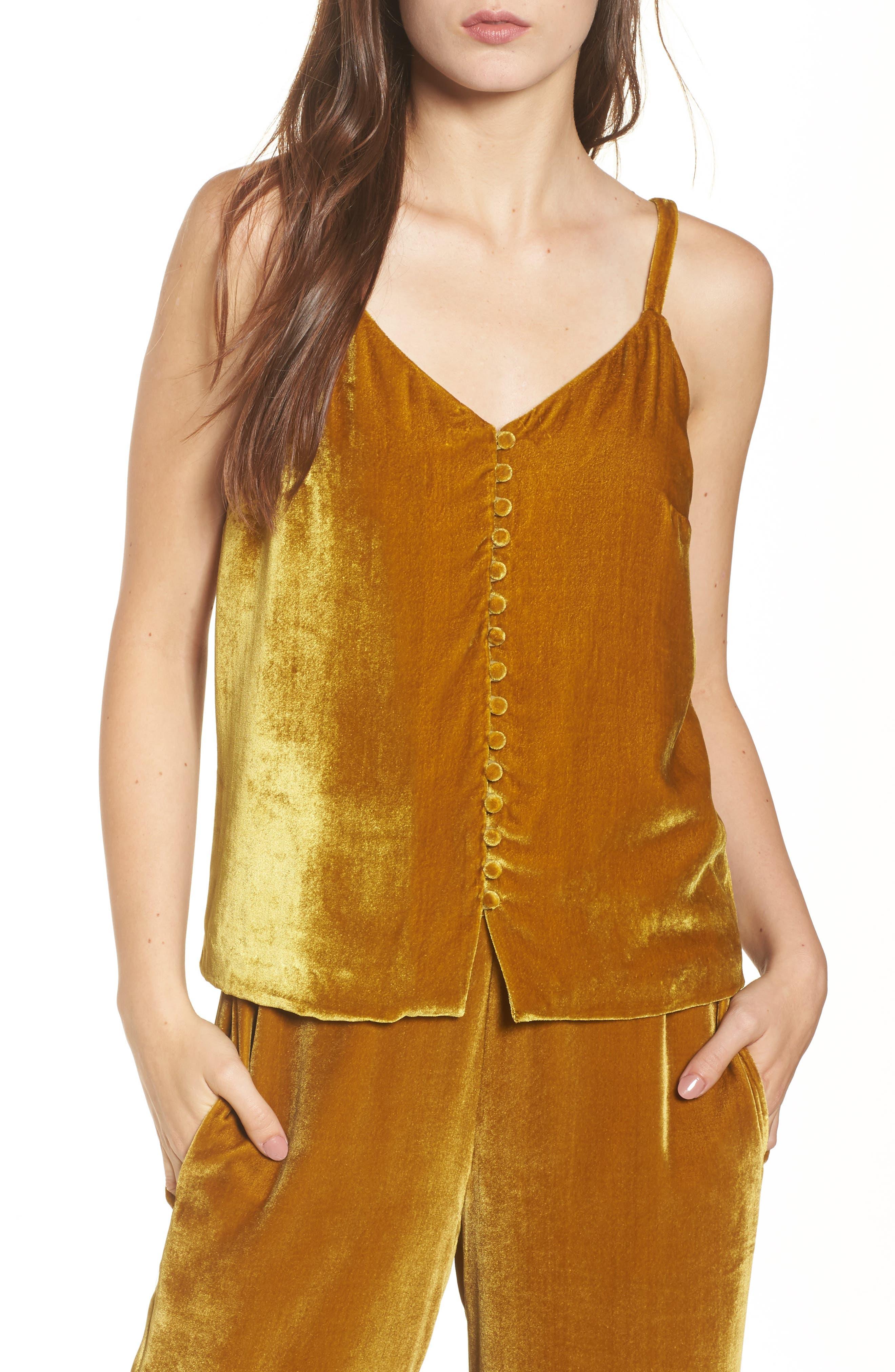 Velvet Button Camisole,                         Main,                         color, Vintage Gold