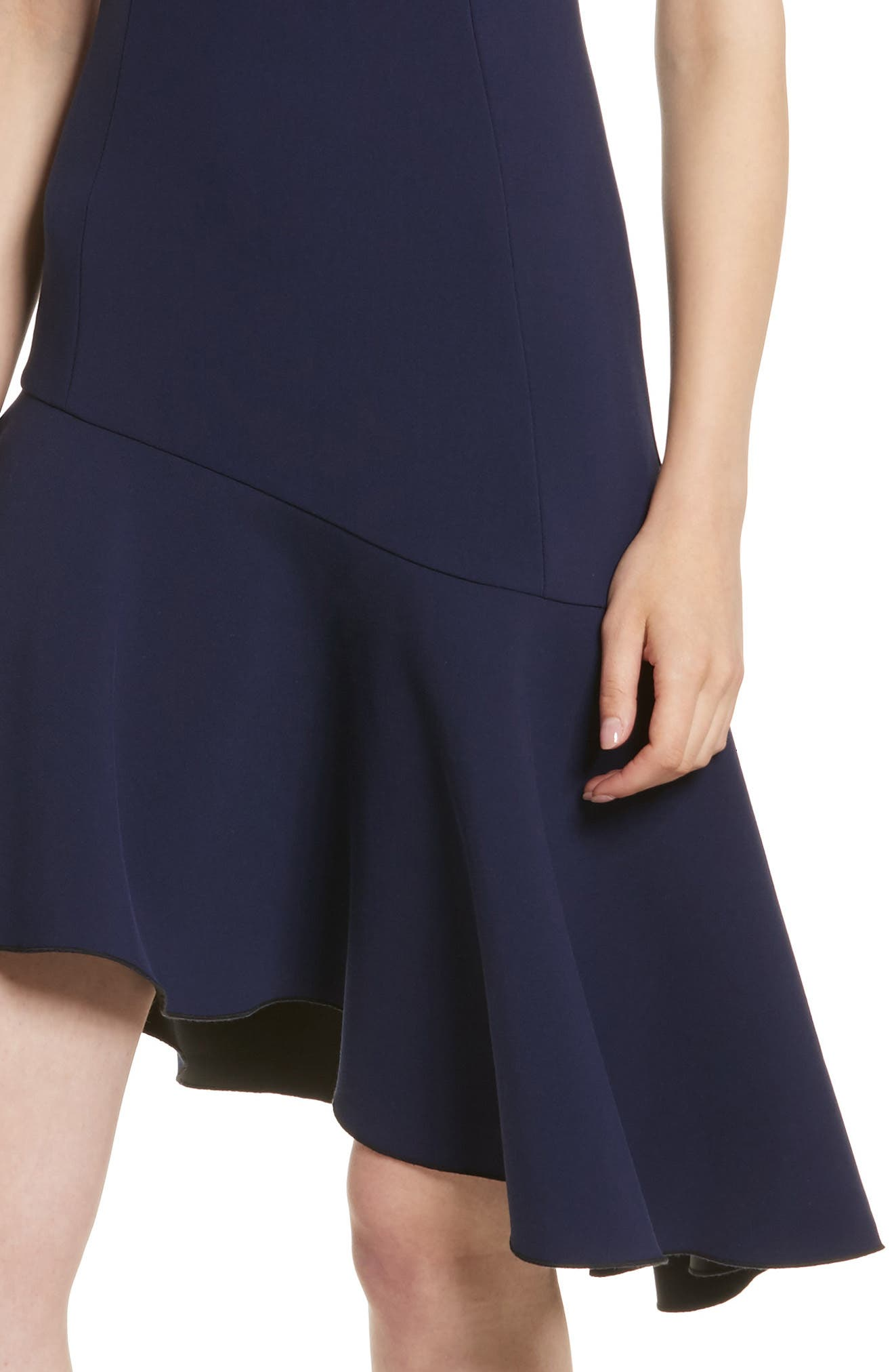 Dev Ruffle Fit & Flare Dress,                             Alternate thumbnail 4, color,                             Blue Violet/ Black