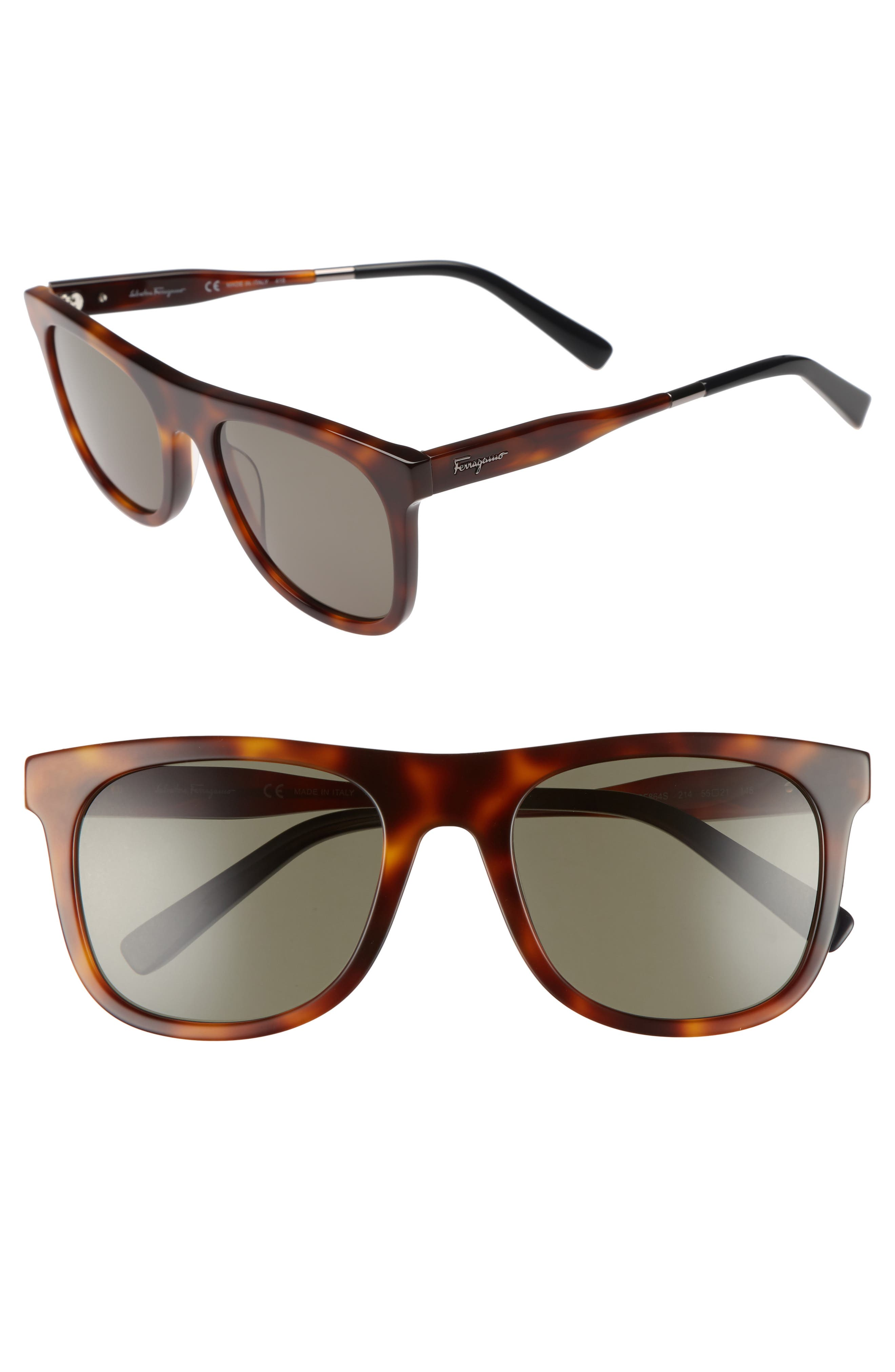 55mm Sunglasses,                             Main thumbnail 1, color,                             Tortoise