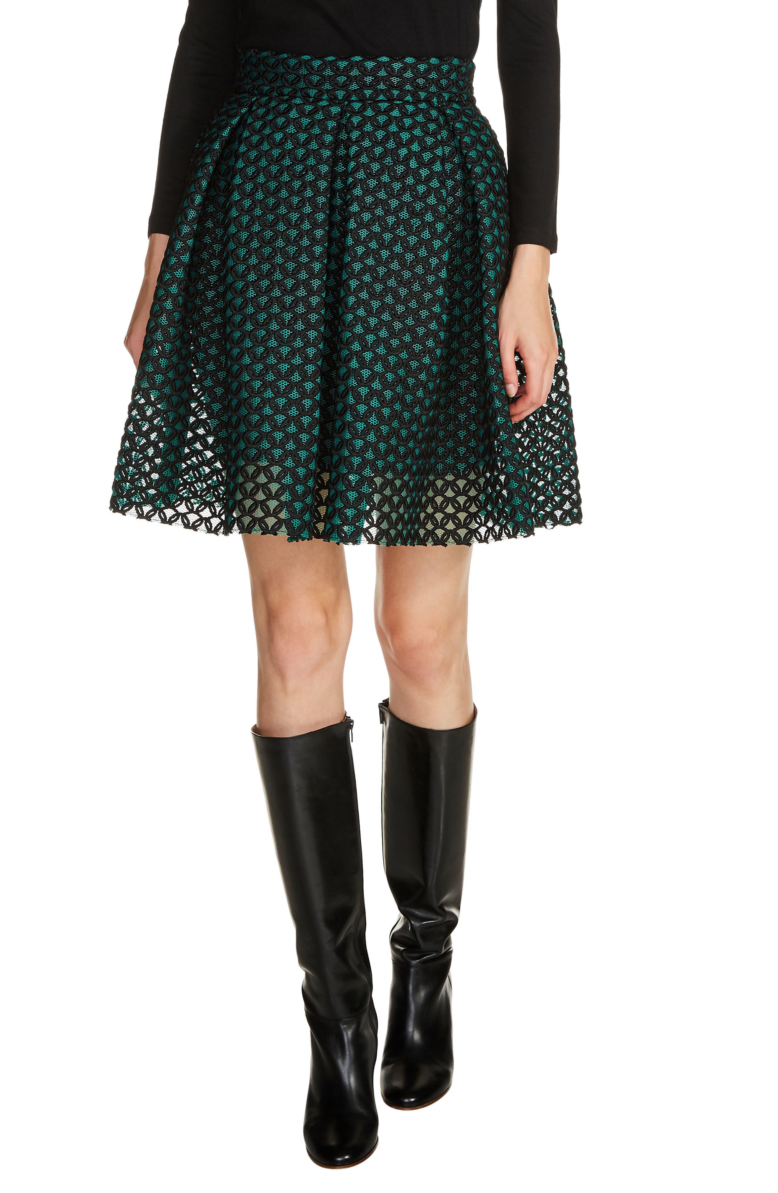 maje Guipure Skater Skirt