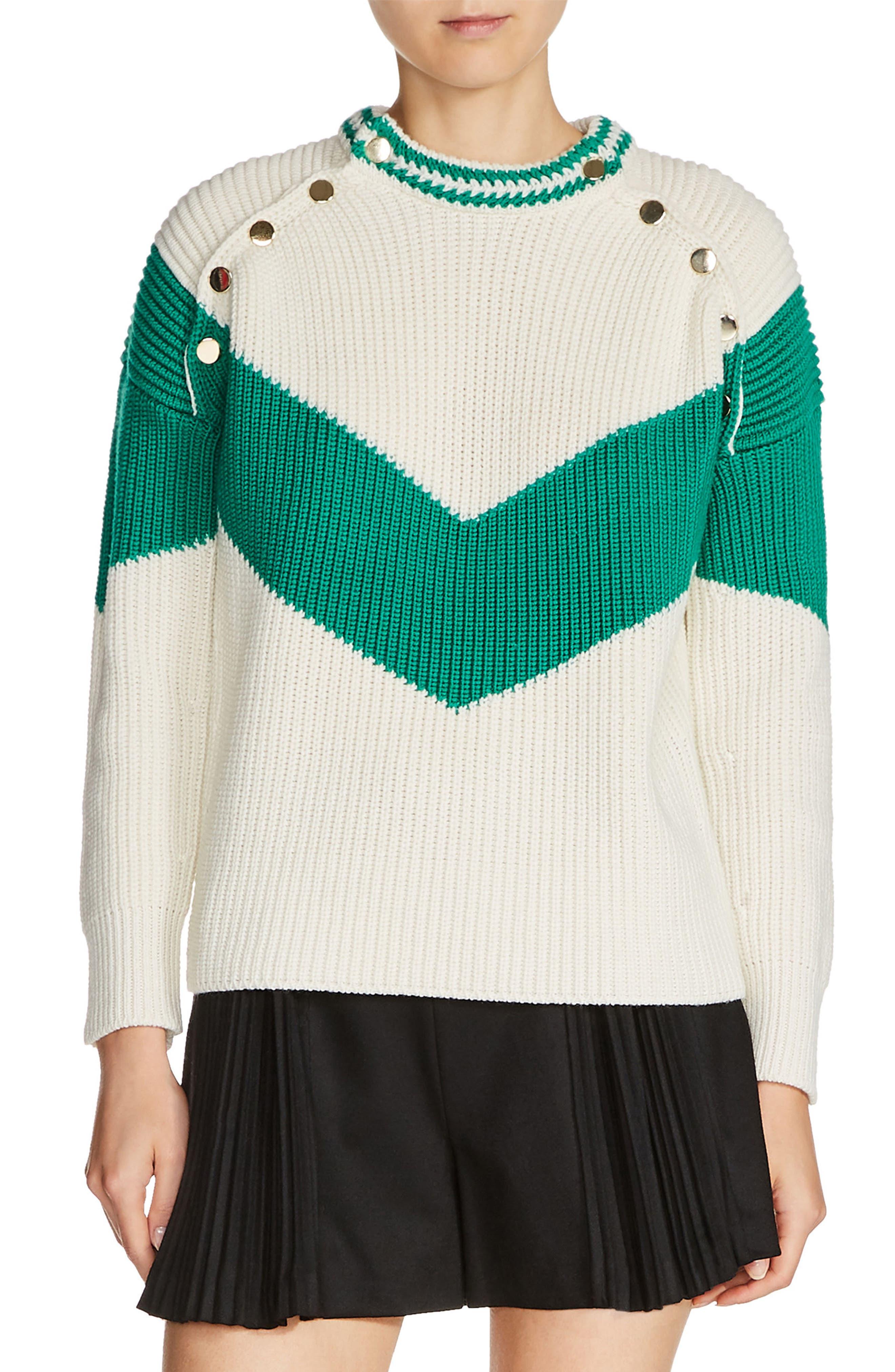 Main Image - maje Snap Shoulder Sweater