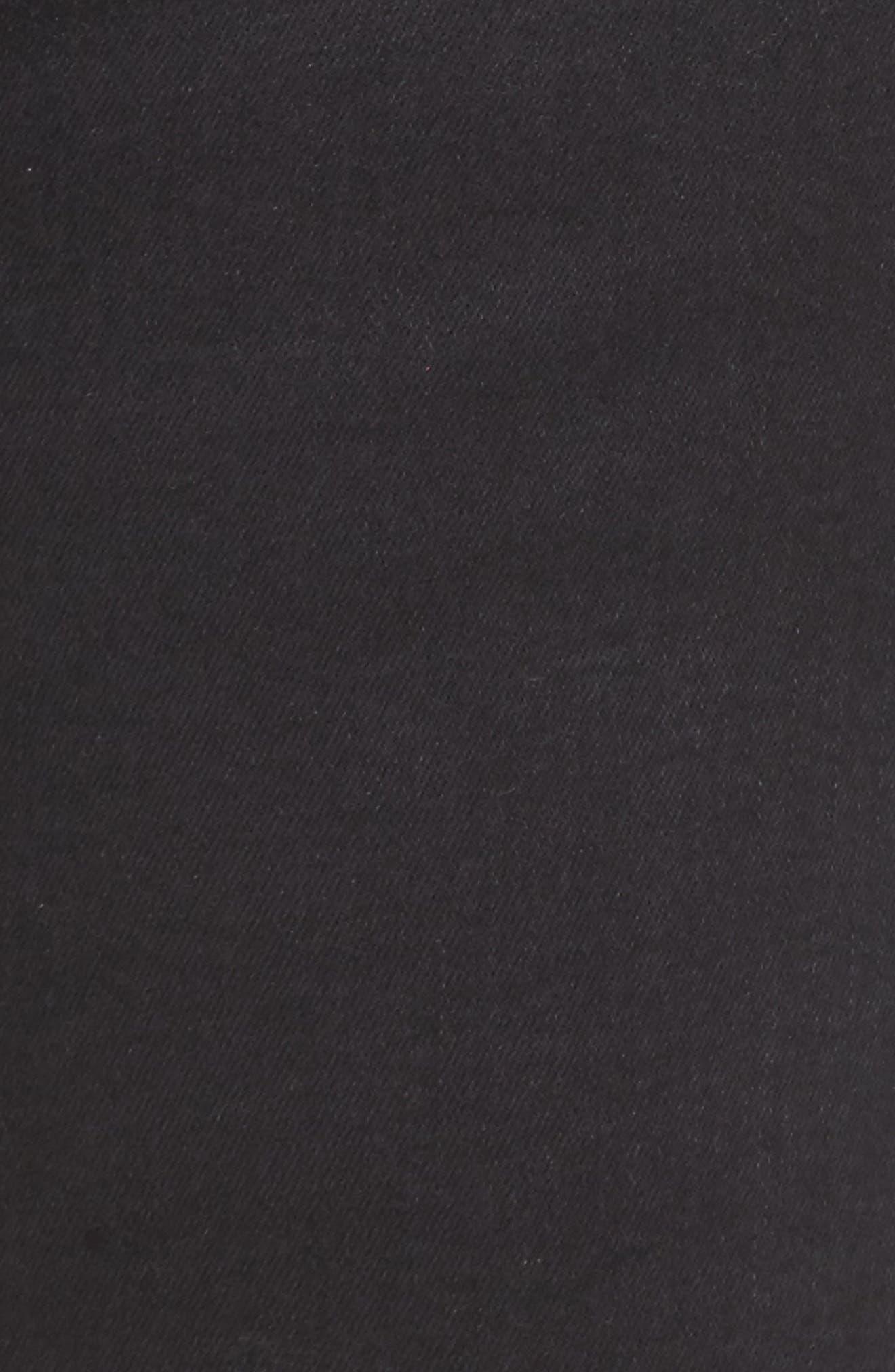 Distressed Slant Raw Hem Skinny Jeans,                             Alternate thumbnail 5, color,                             Blackbird