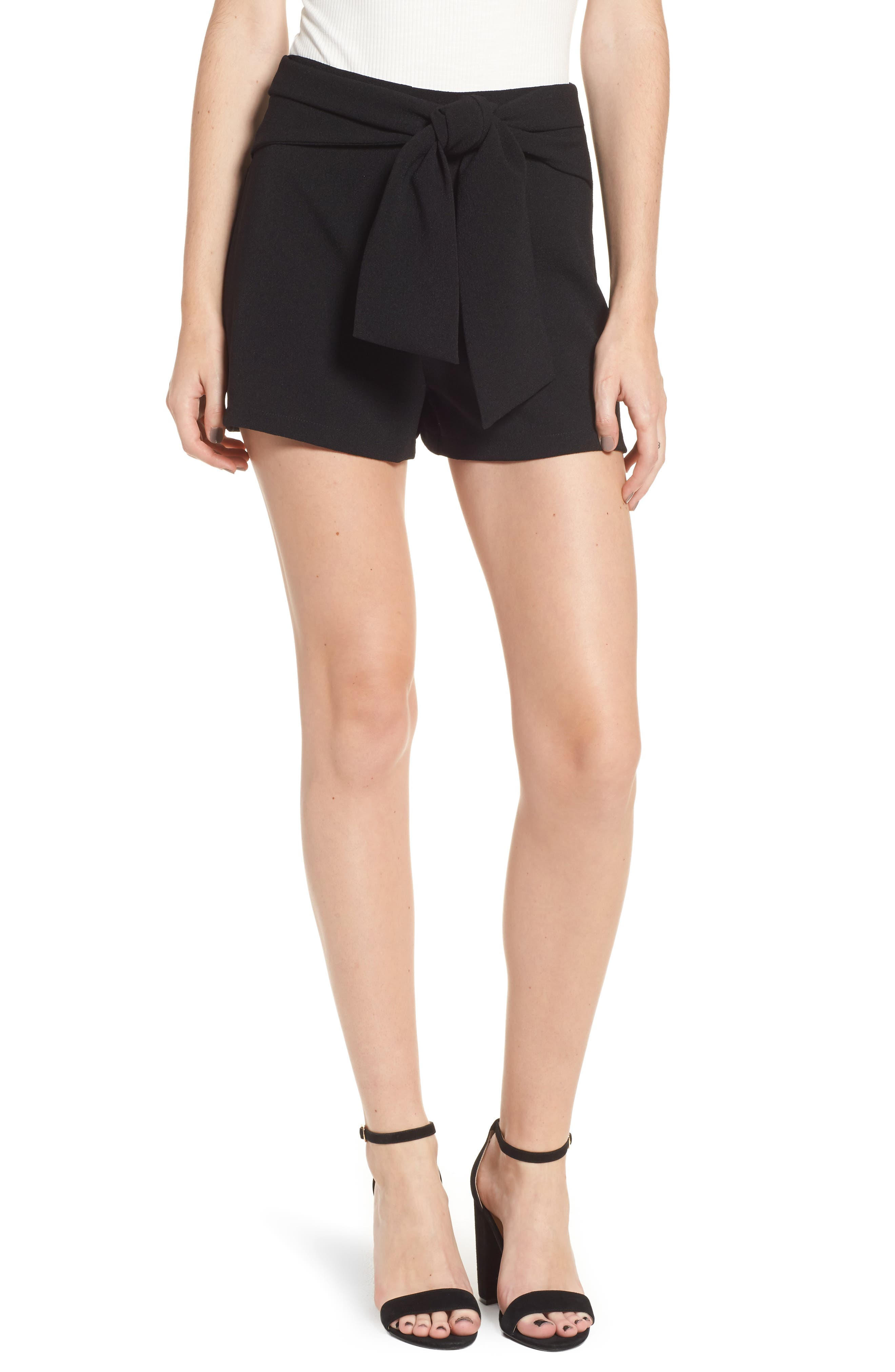 Tie Waist Shorts,                         Main,                         color, Black