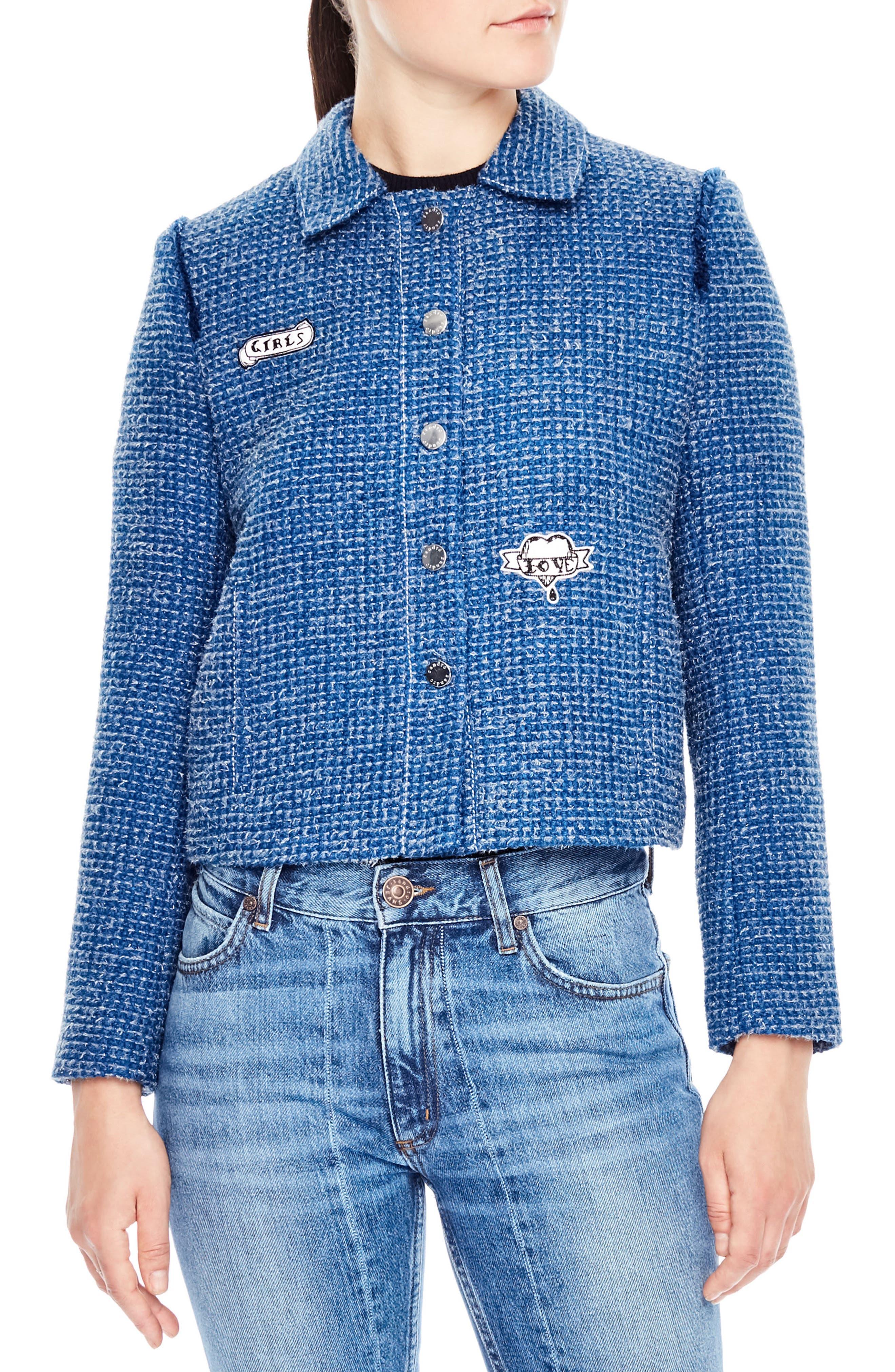 Tweed Crop Jacket,                             Main thumbnail 1, color,                             Sky Blue