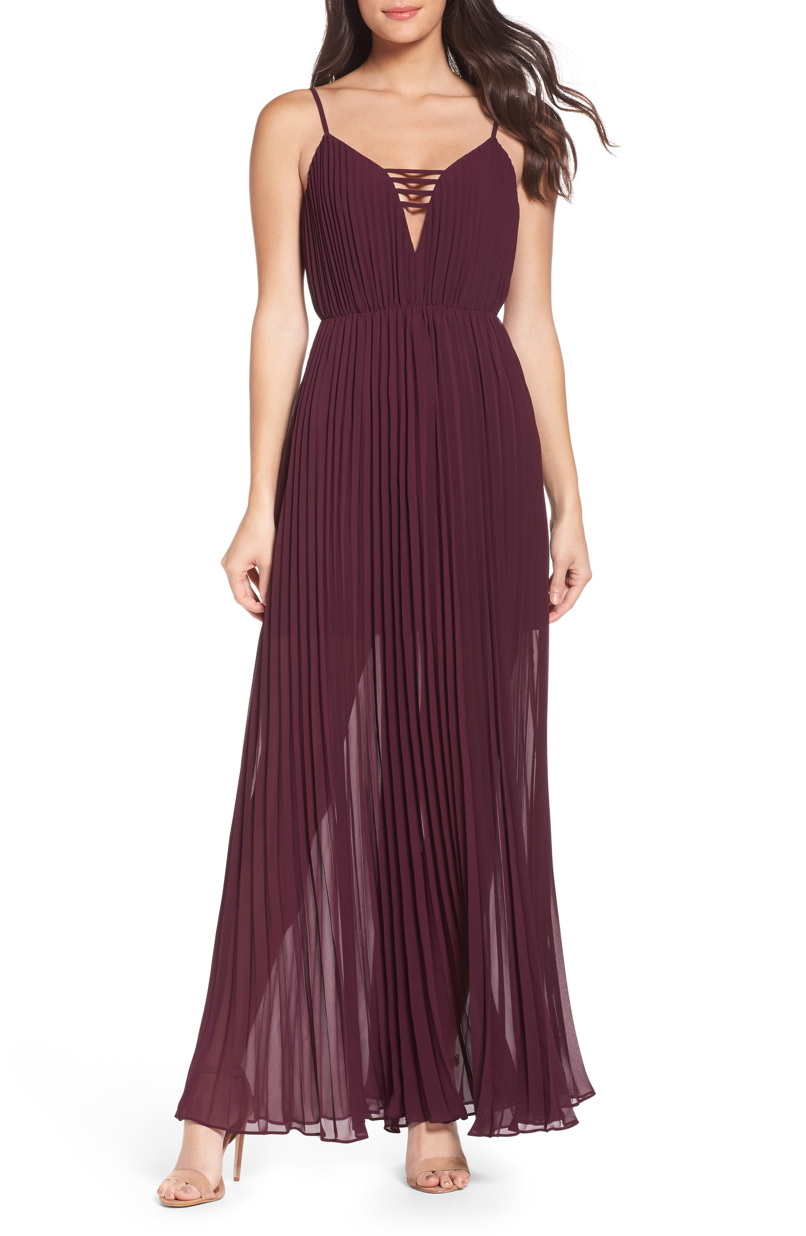 She Is A Regular Pleated Maxi Dress,                         Main,                         color, Wine