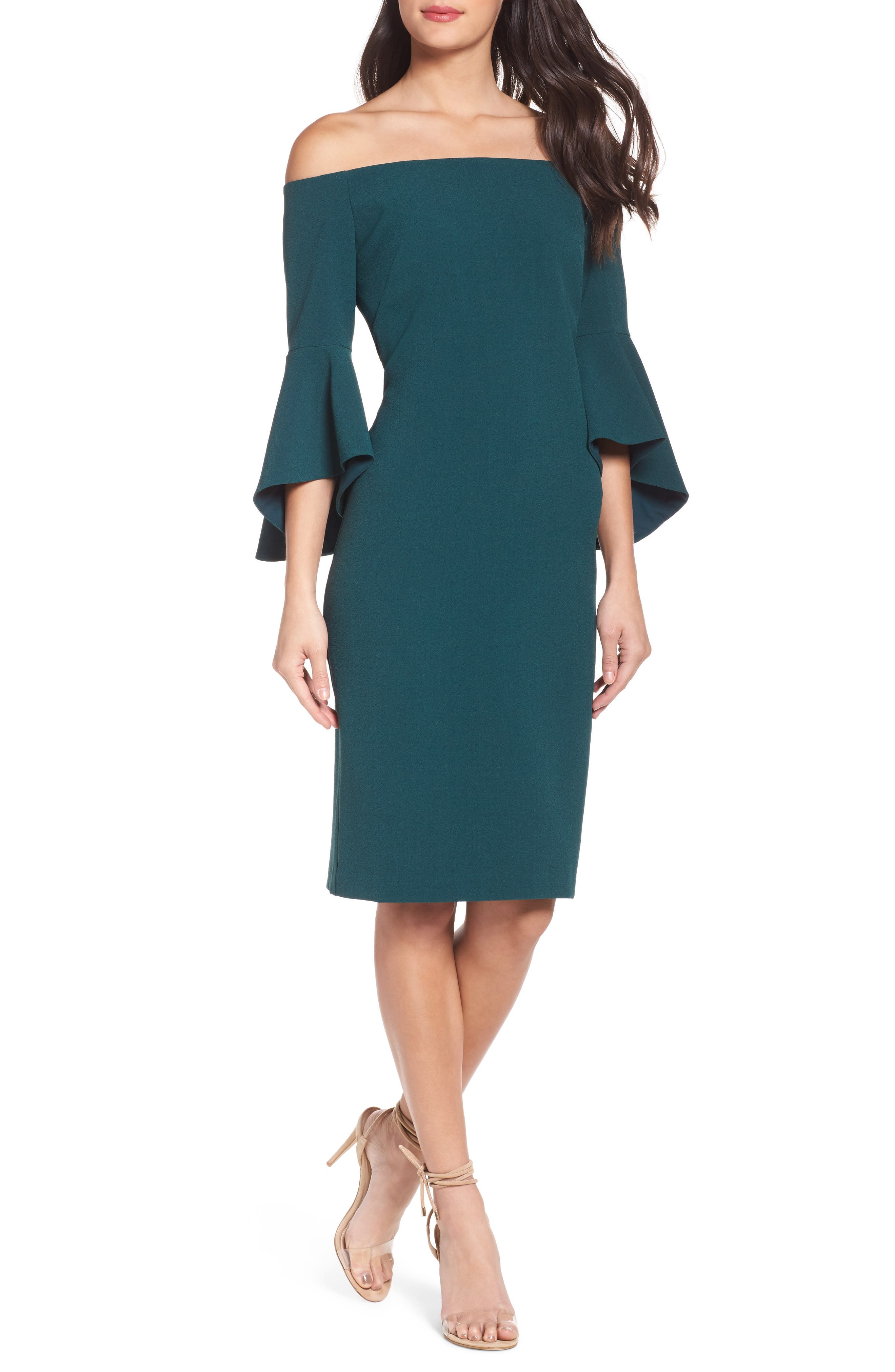 Off the Shoulder Dress,                         Main,                         color, Green Botanical