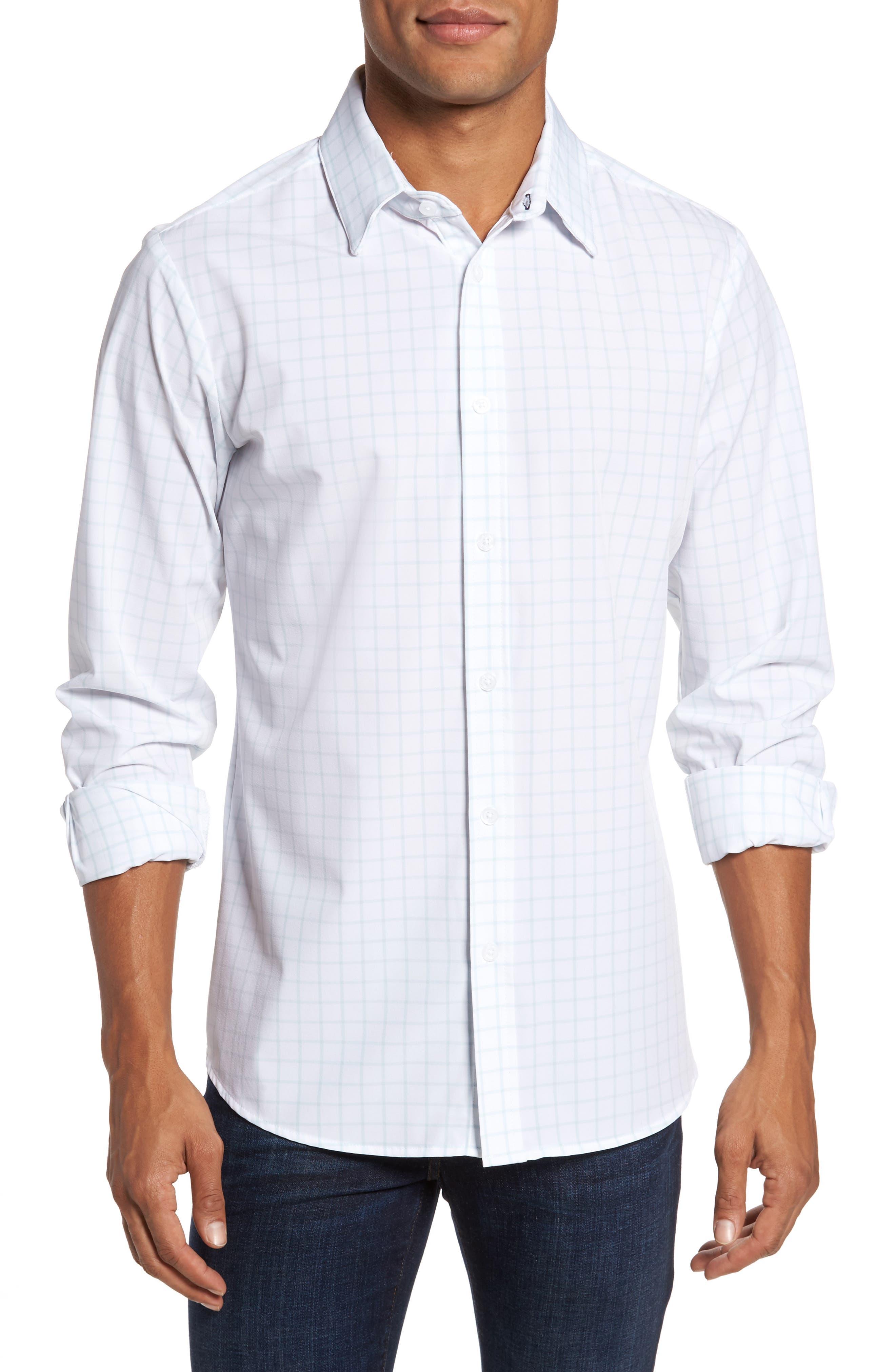 Blue Label Hull Slim Fit Crosshatch Sport Shirt,                         Main,                         color, Blue
