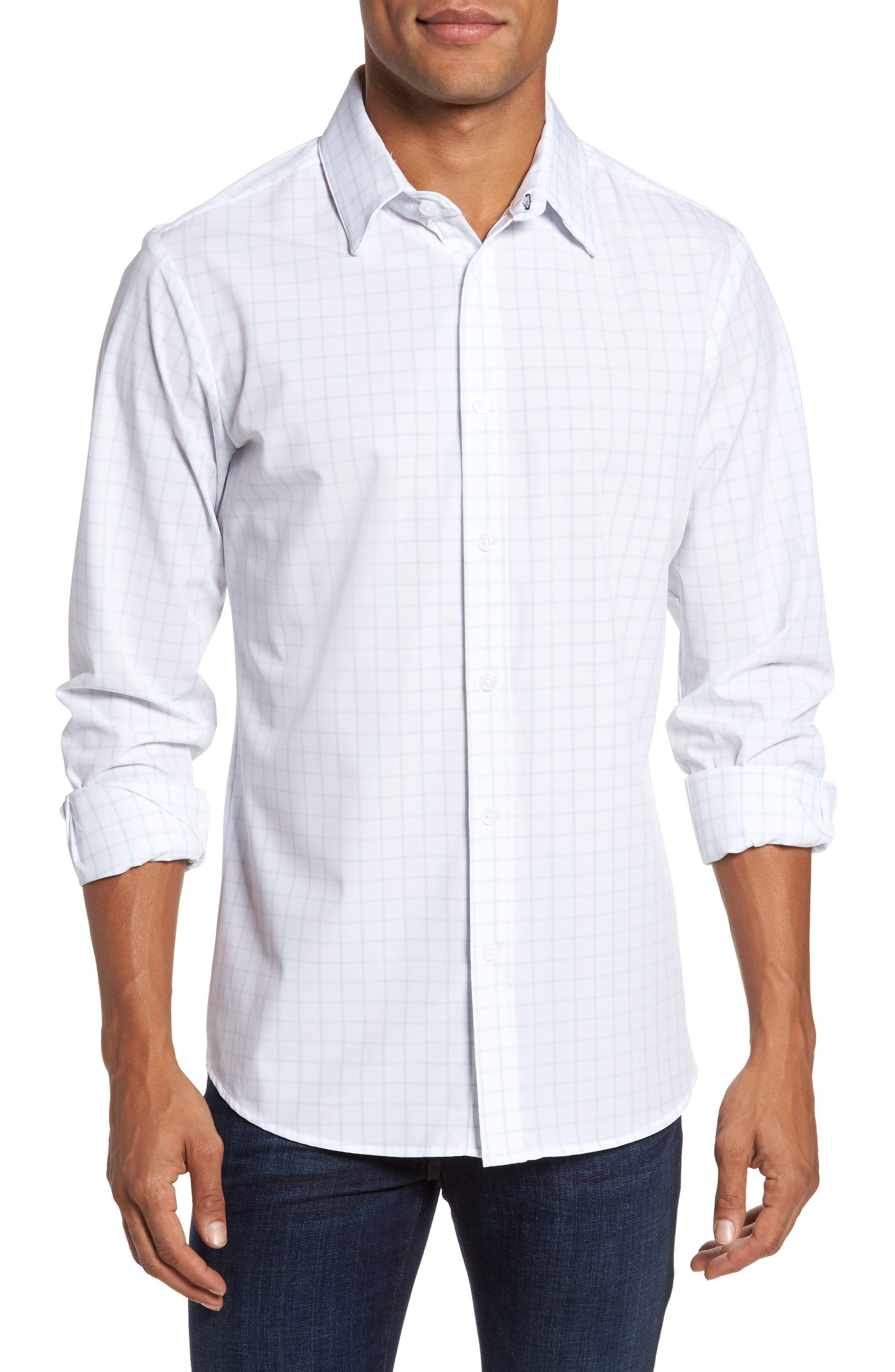 Mizzen+Main Blue Label Hull Slim Fit Crosshatch Sport Shirt