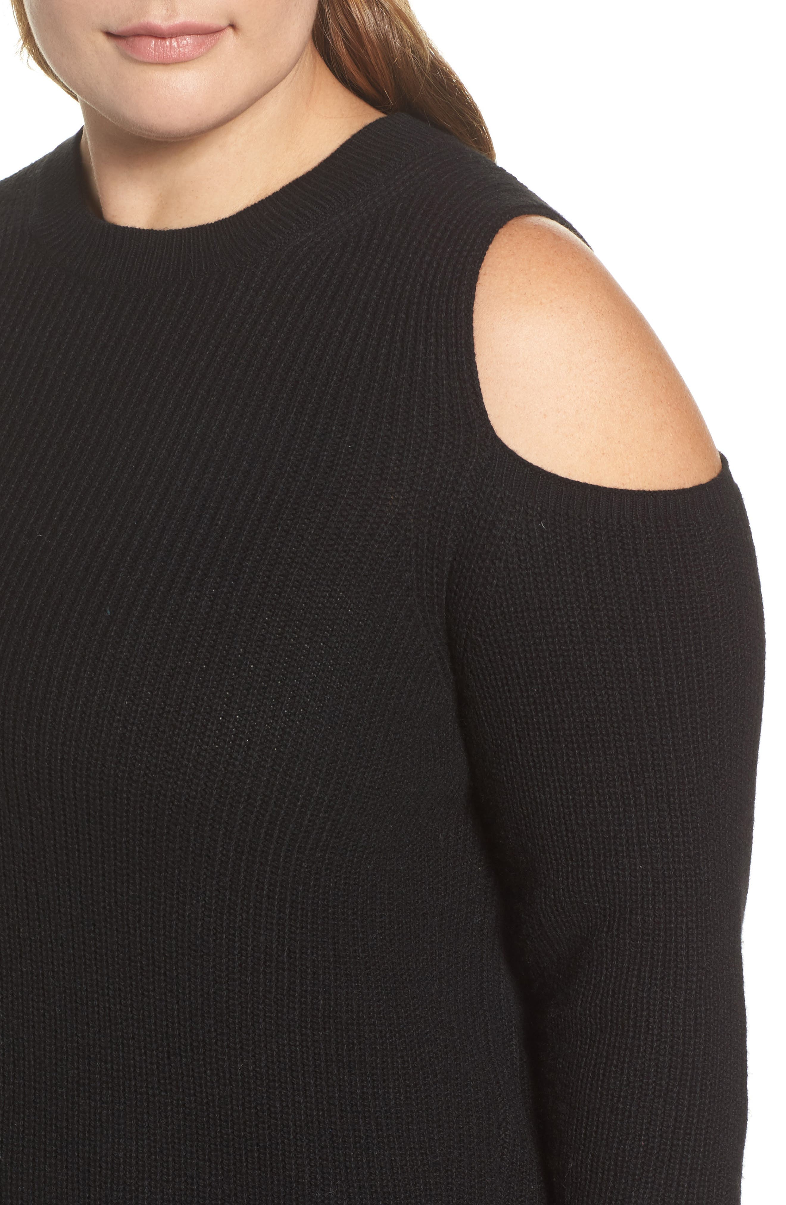 Cold Shoulder Sweater,                             Alternate thumbnail 4, color,                             Lucky Black