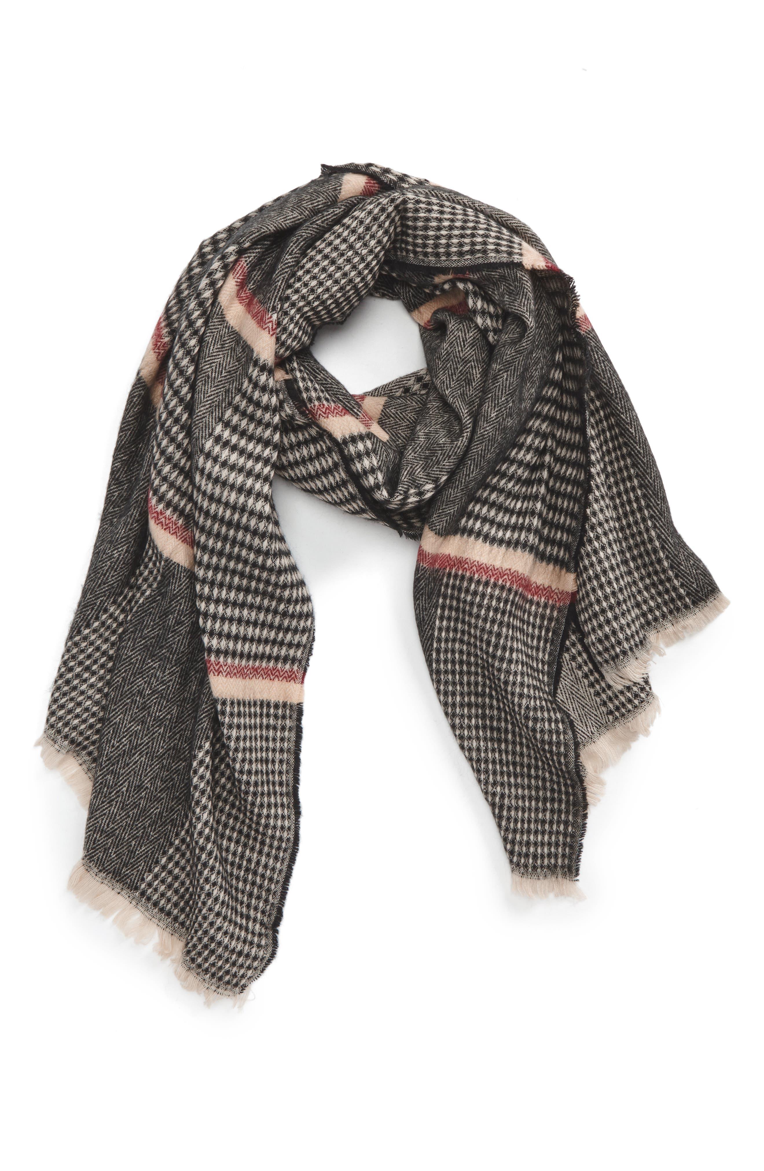 Pinstripe Scarf,                         Main,                         color, Black/ Tan