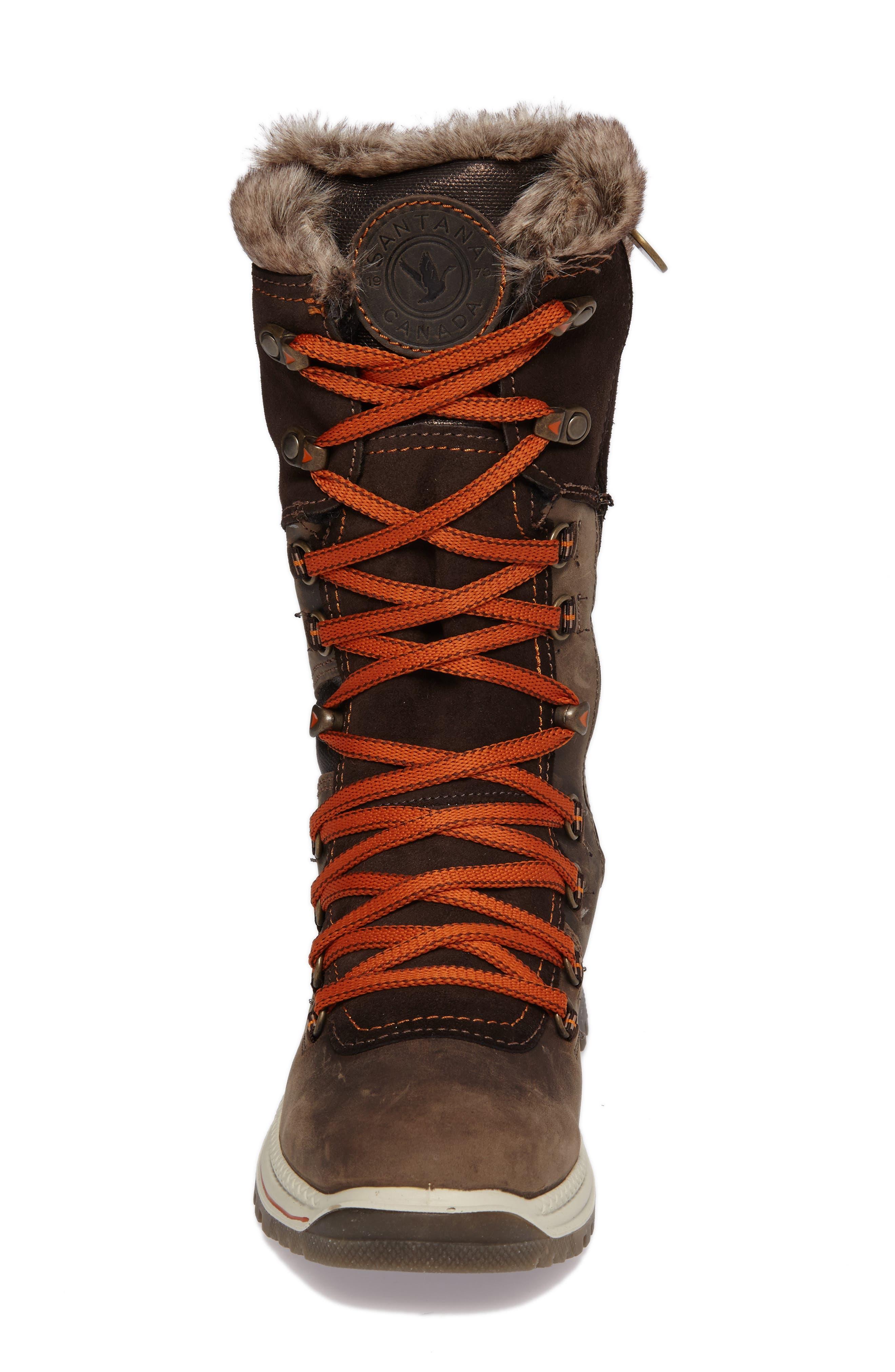 'Morella' Water Resistant Faux Fur Boot,                             Alternate thumbnail 4, color,                             Dark Brown Leather