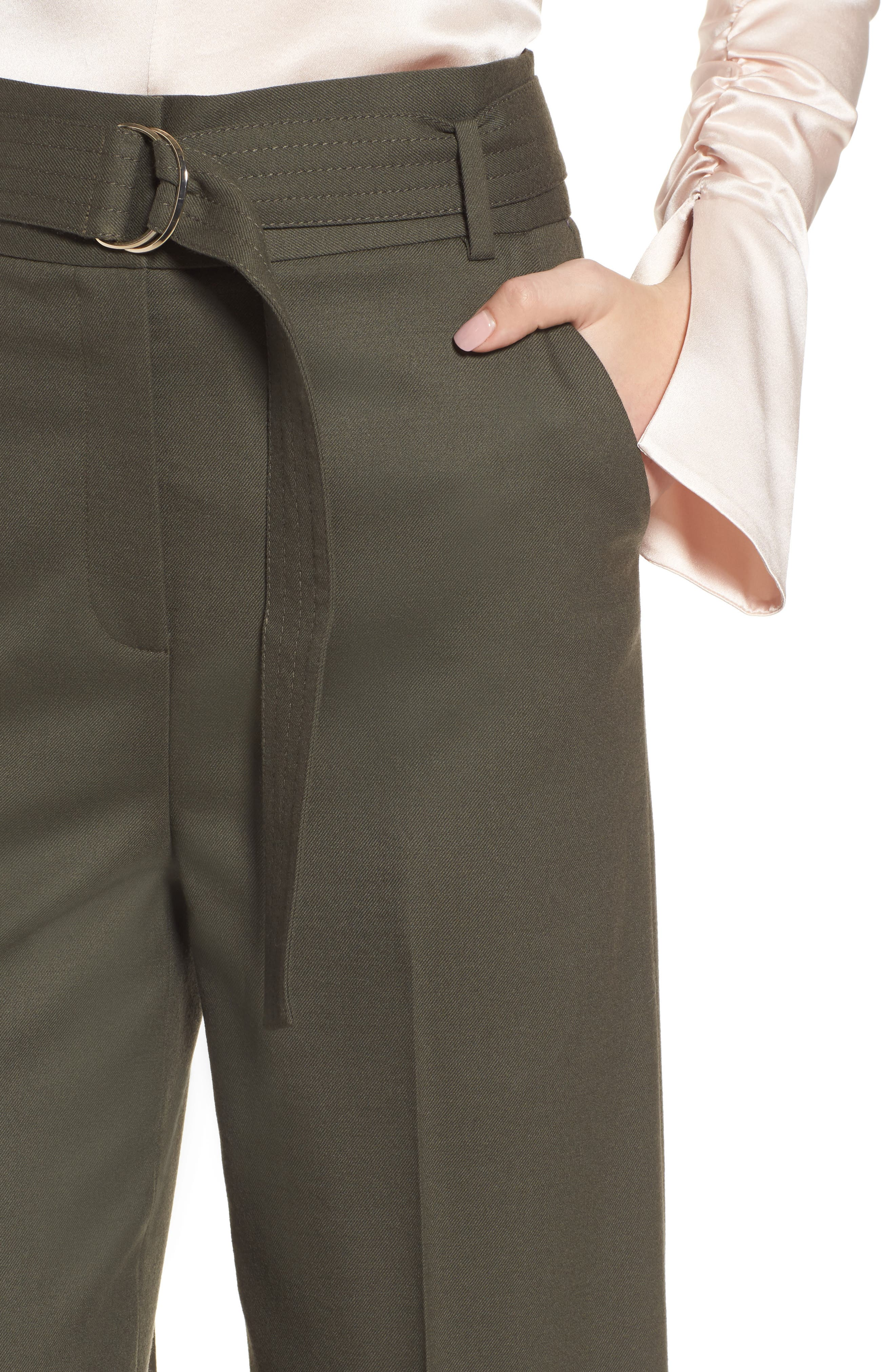 Wide Leg Stretch Wool Pants,                             Alternate thumbnail 4, color,                             Olive Tuscan
