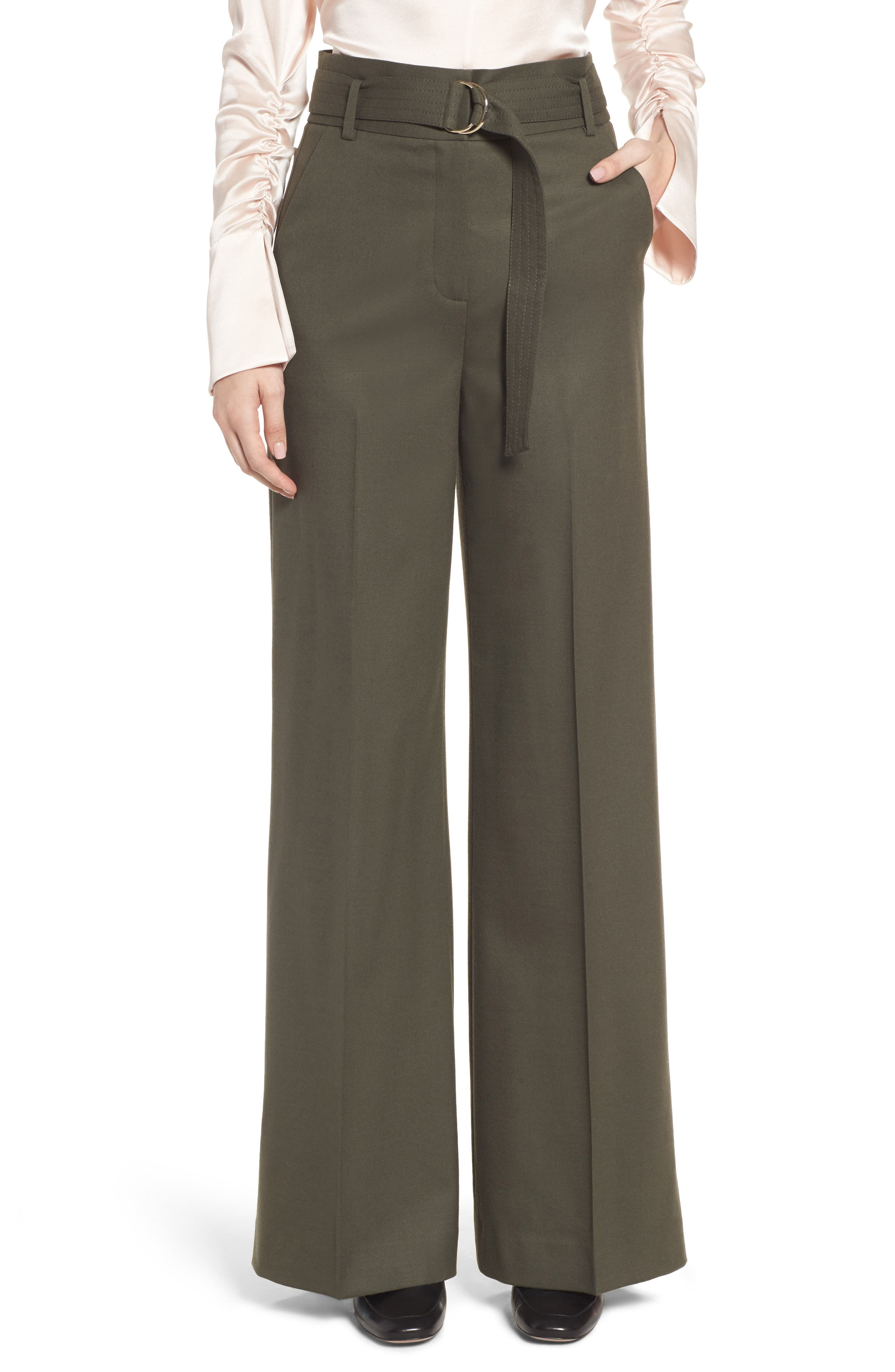 Wide Leg Stretch Wool Pants,                             Main thumbnail 1, color,                             Olive Tuscan