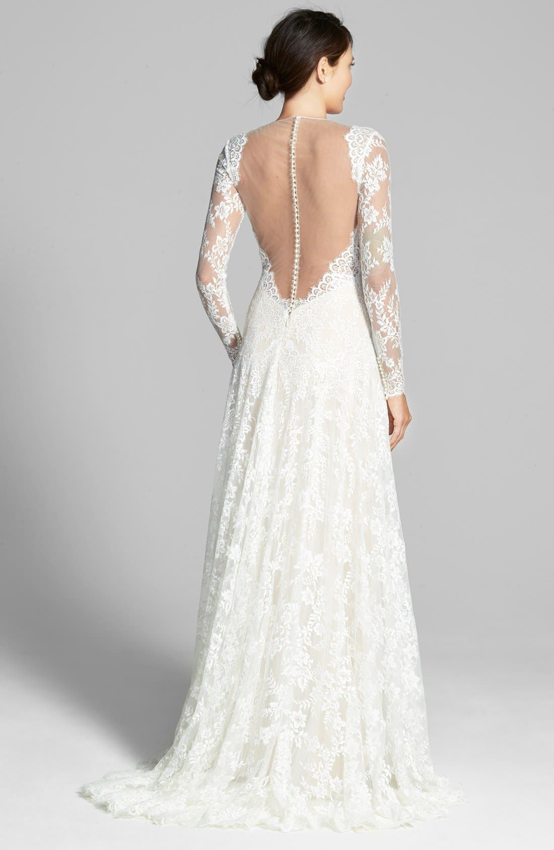 Alternate Image 2  - Watters Arcelia Illusion Yoke A-Line Lace Gown