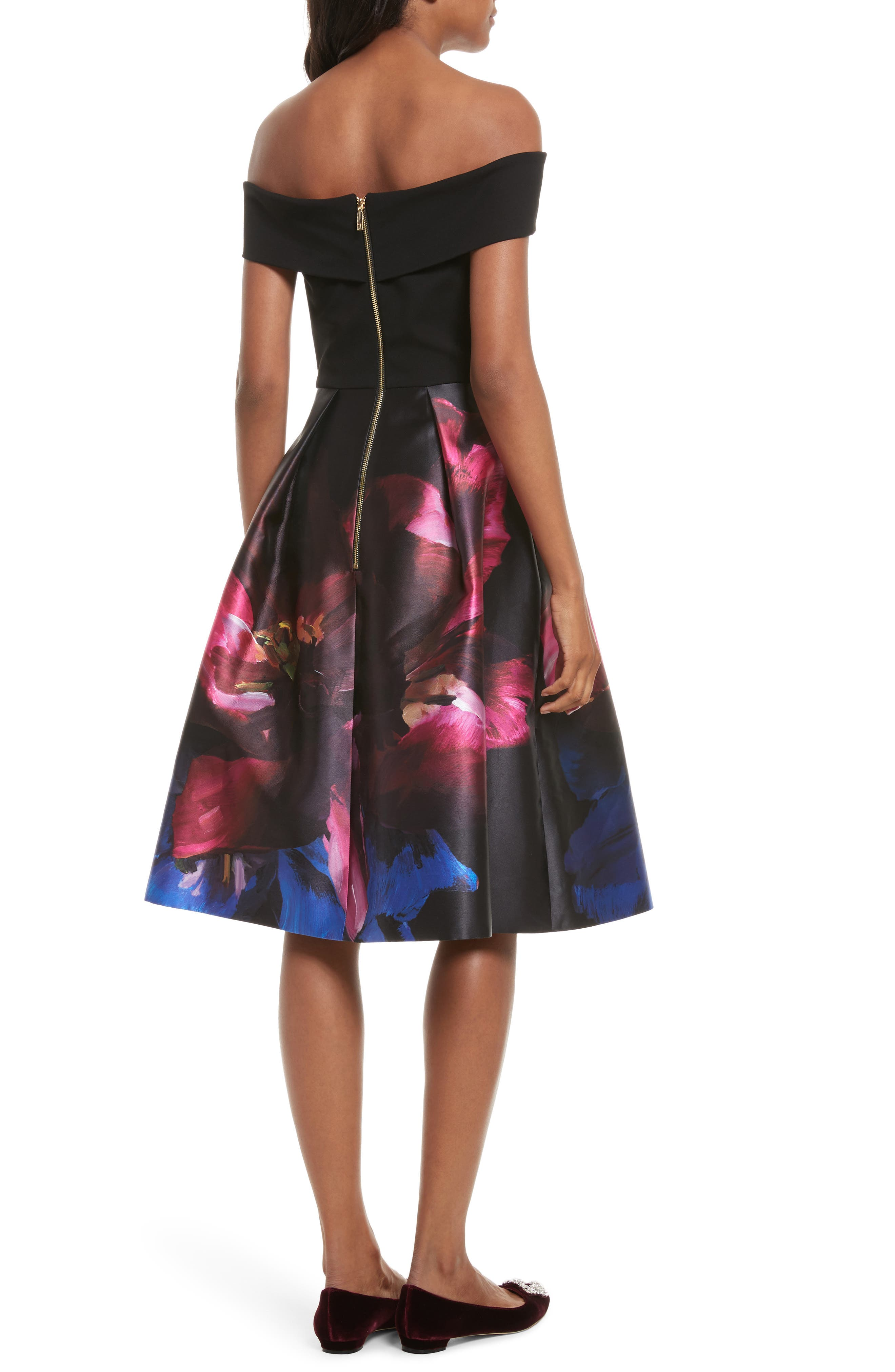 Kimey Impressionist Fit & Flare Dress,                             Alternate thumbnail 2, color,                             Black