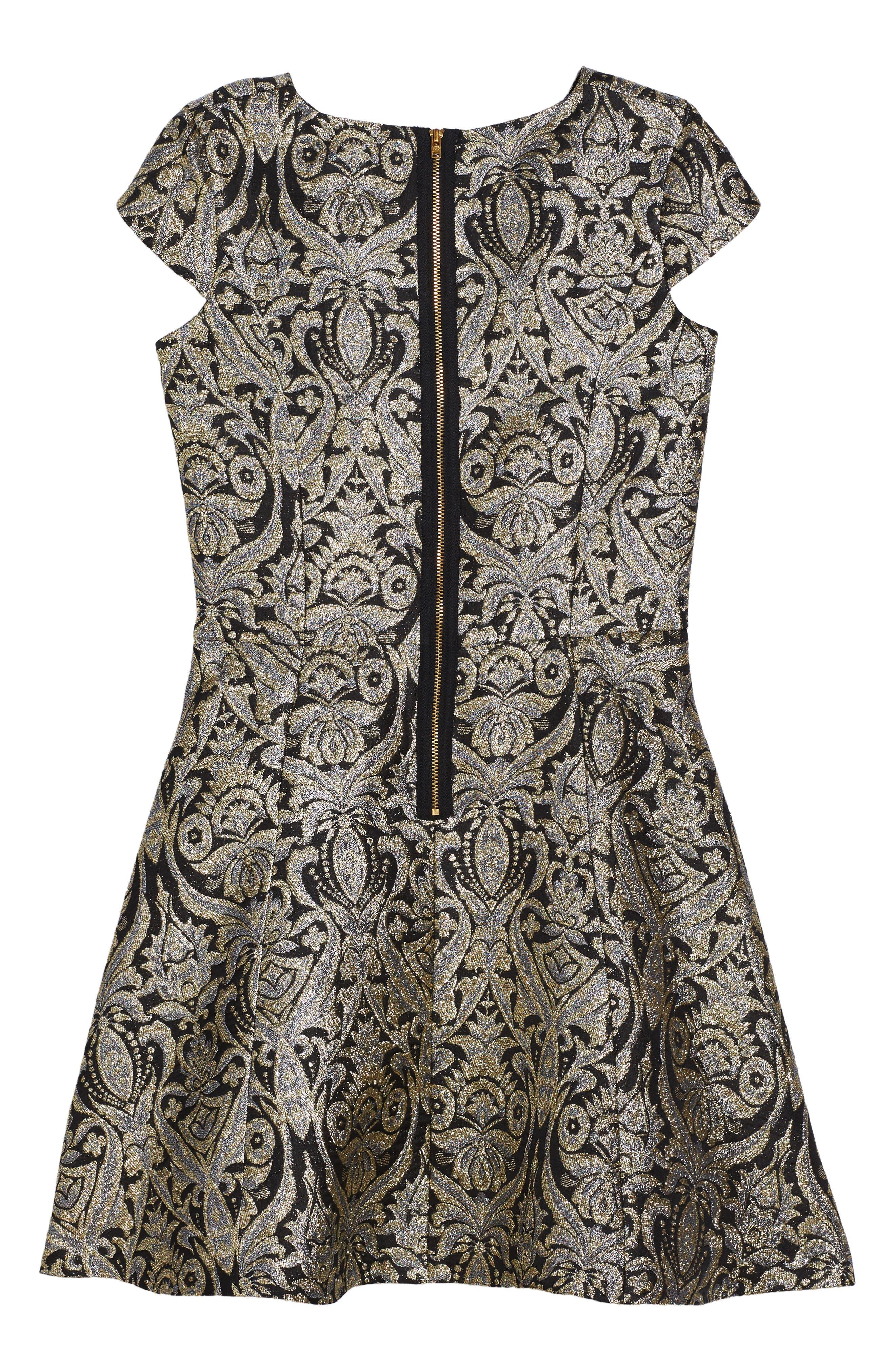 Alternate Image 4  - David Charles Cap Sleeve Brocade Dress (Big Girls)