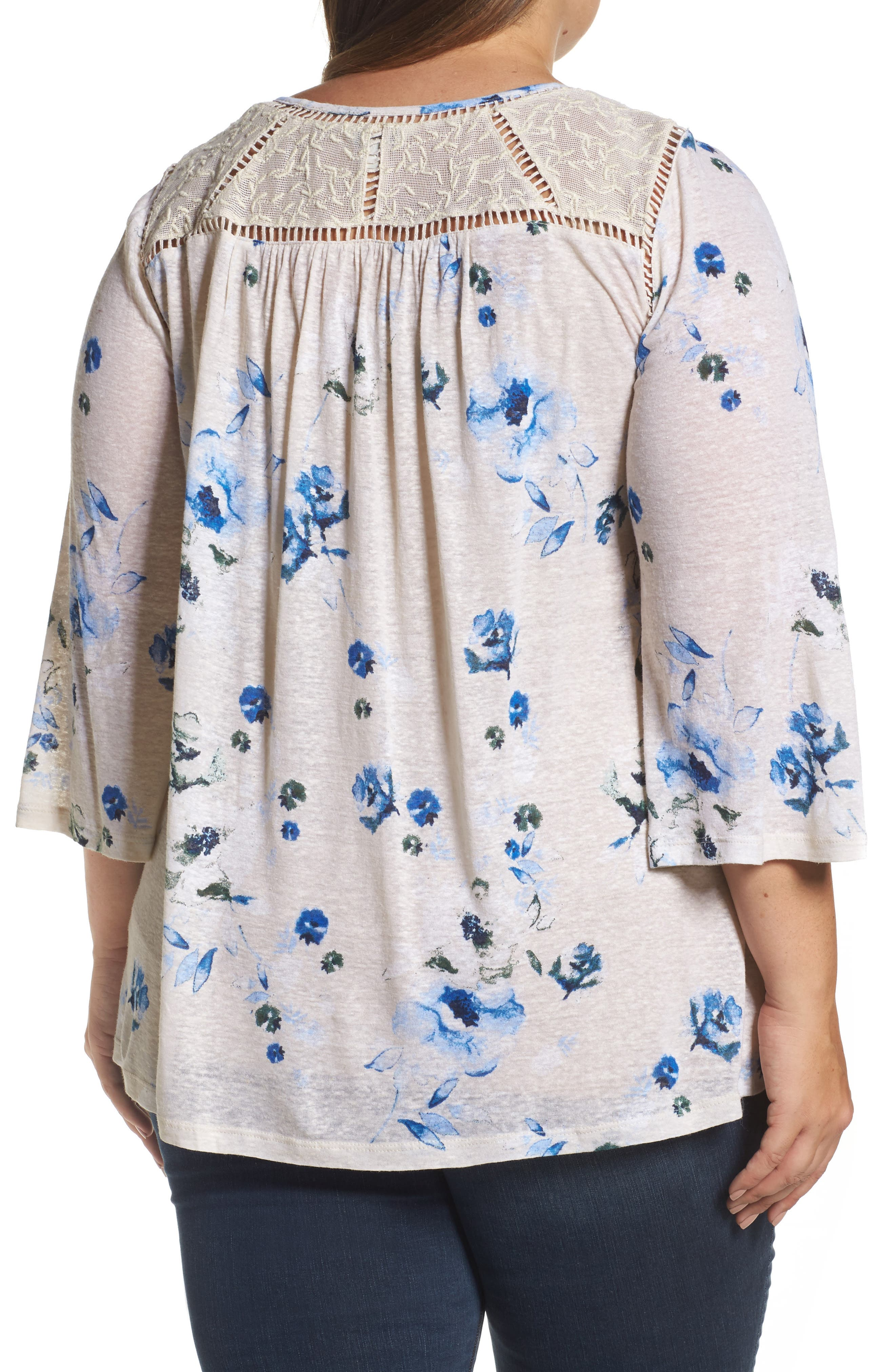 Alternate Image 2  - Lucky Brand Lace Yoke Floral Peasant Top (Plus Size)