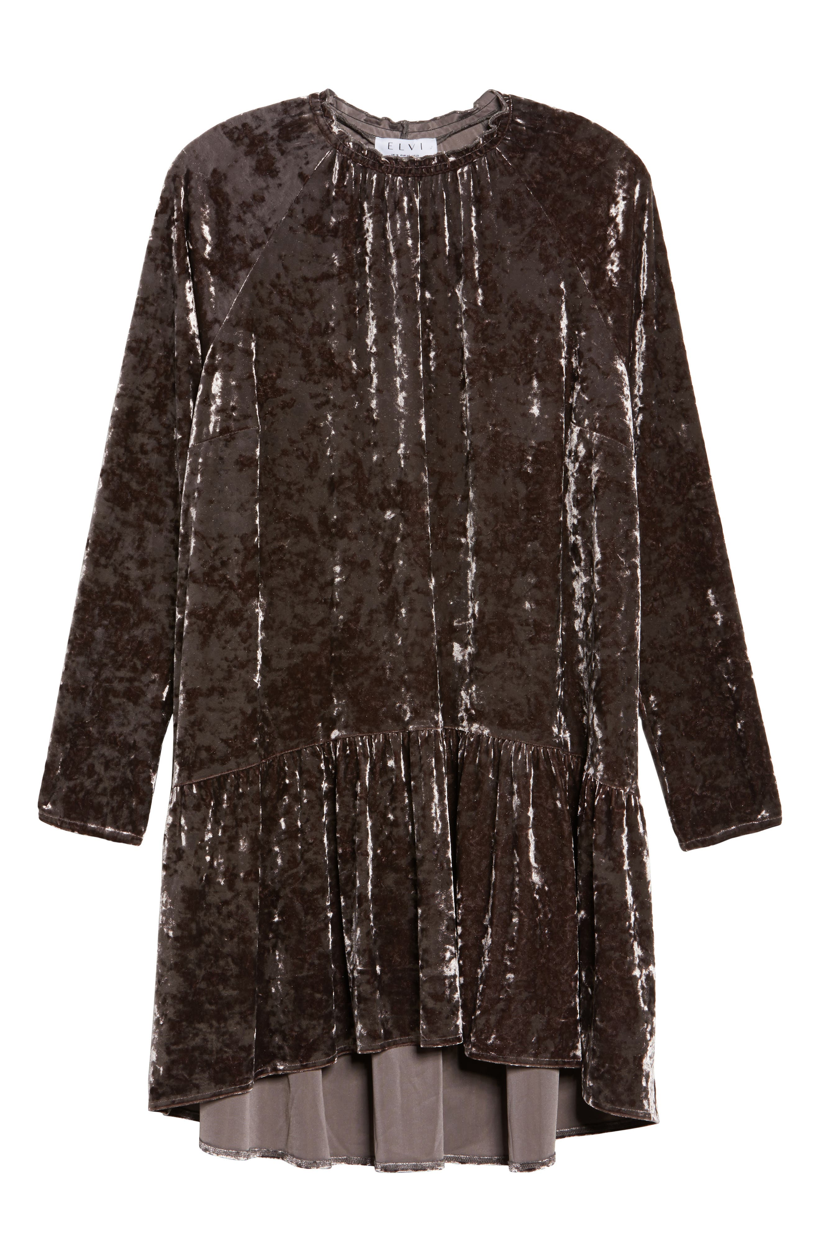 Alternate Image 6  - ELVI Drop Waist Crushed Velvet Dress (Plus Size)