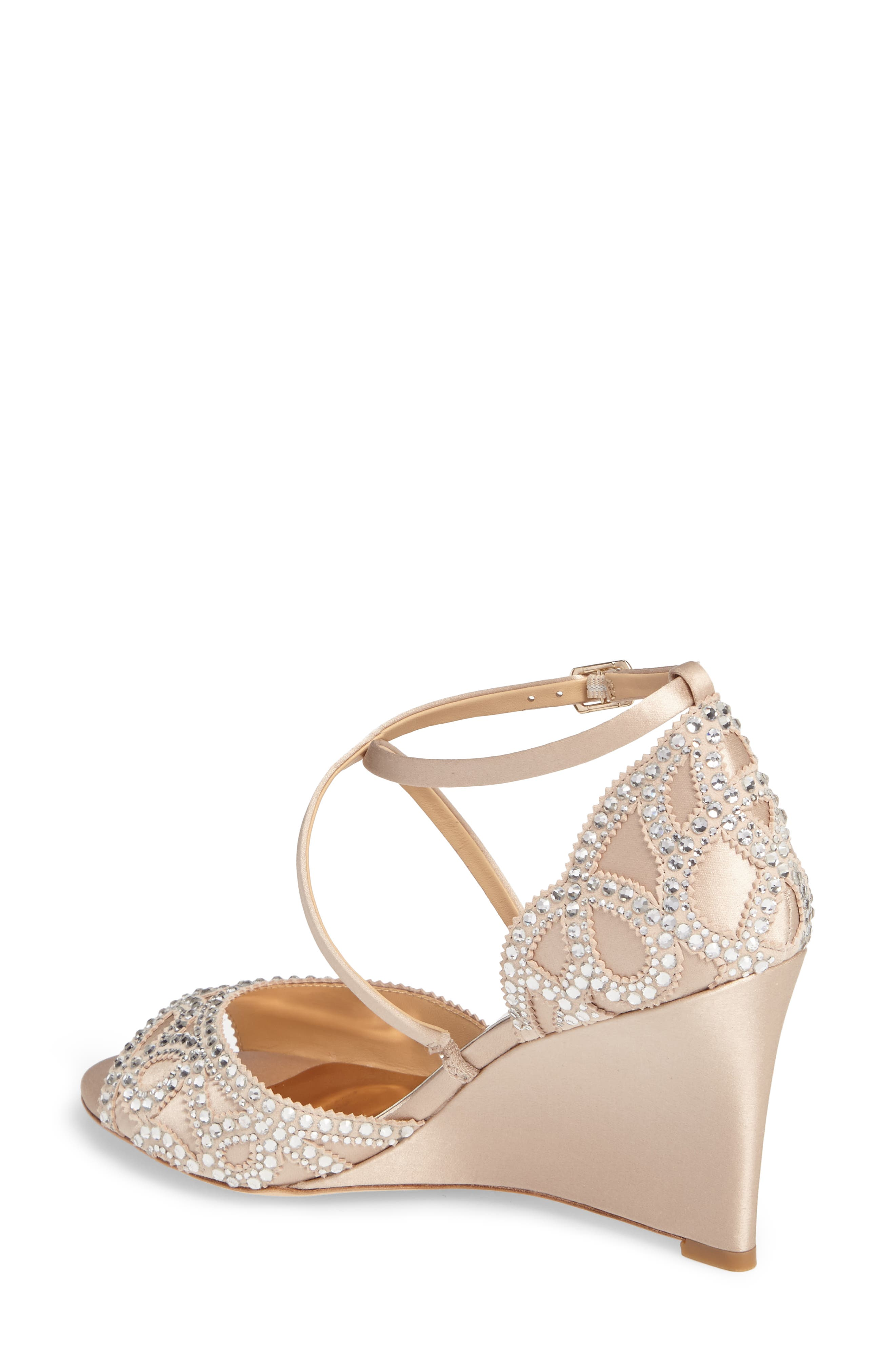 Winter Strappy Wedge Pump,                             Alternate thumbnail 2, color,                             Nude Satin