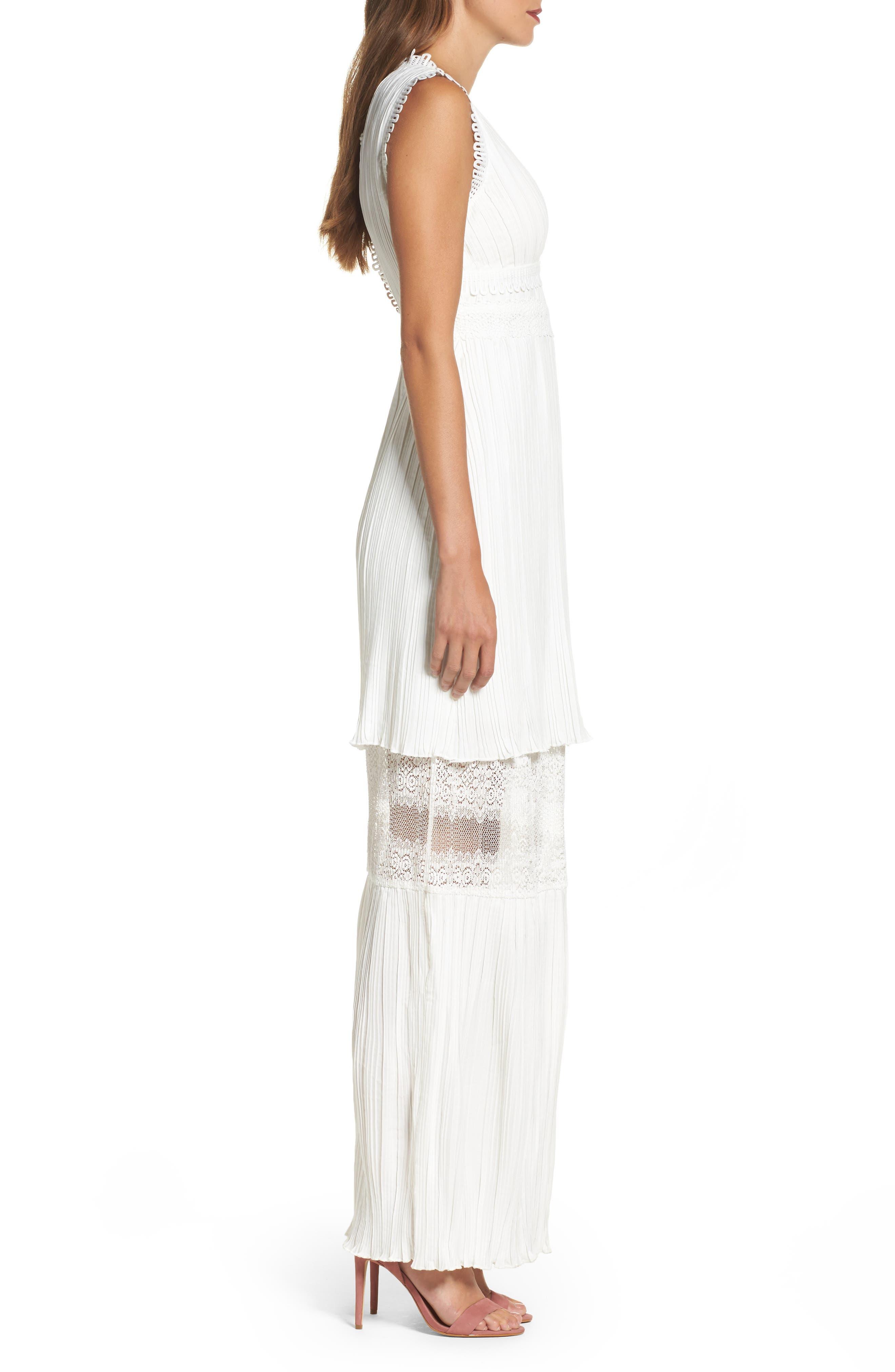Jasmine Lace Inset Pleated Dress,                             Alternate thumbnail 3, color,                             Ivory