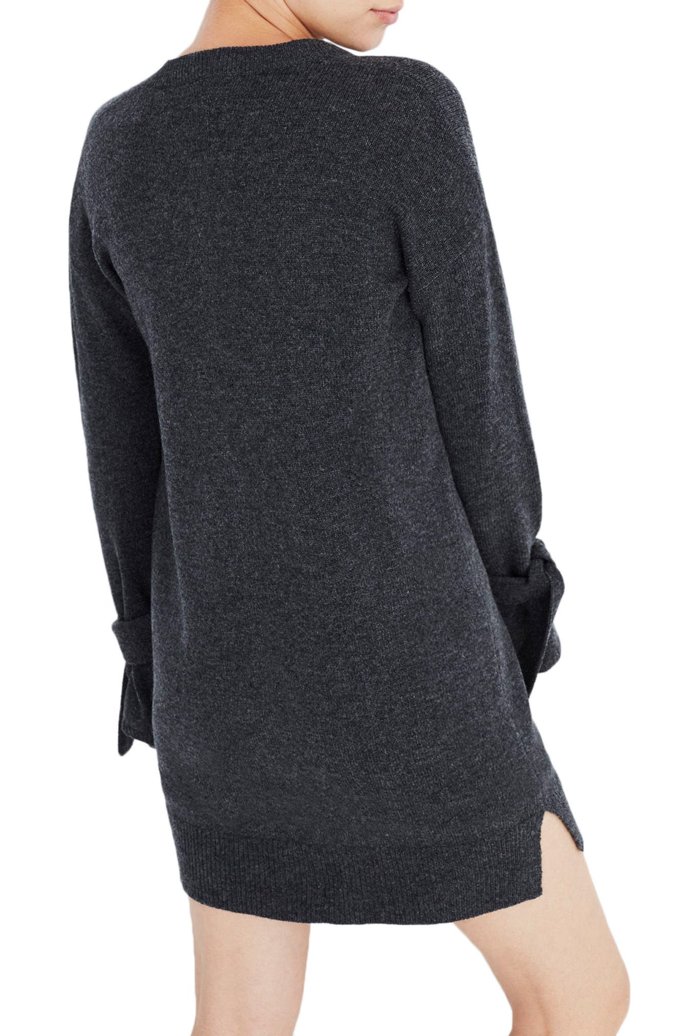 Tie Cuff Sweater Dress,                             Alternate thumbnail 2, color,                             Heather Carbon