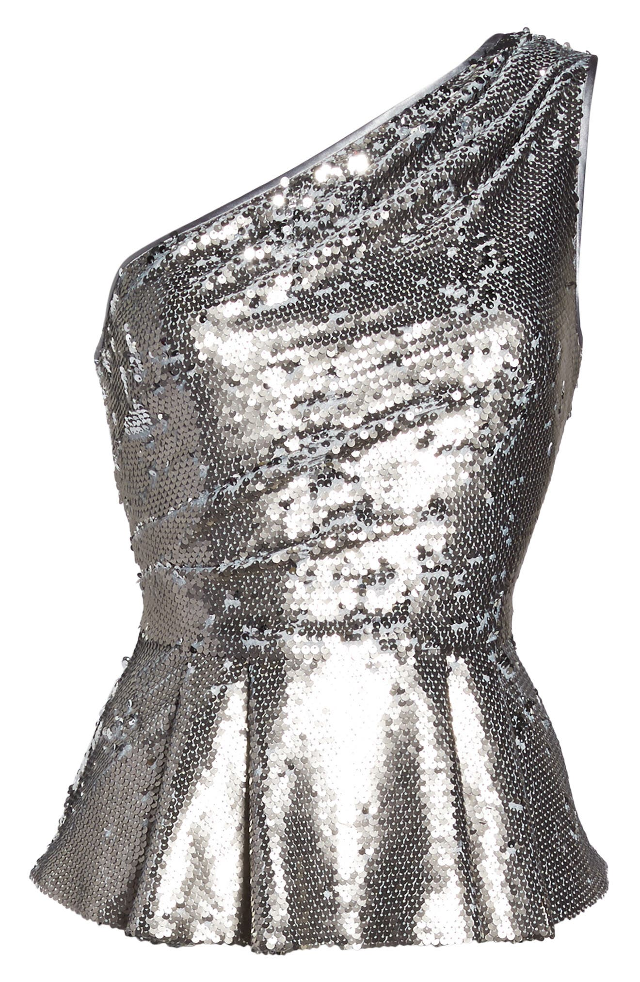 One-Shoulder Sequin Peplum Top,                             Alternate thumbnail 8, color,                             Silver
