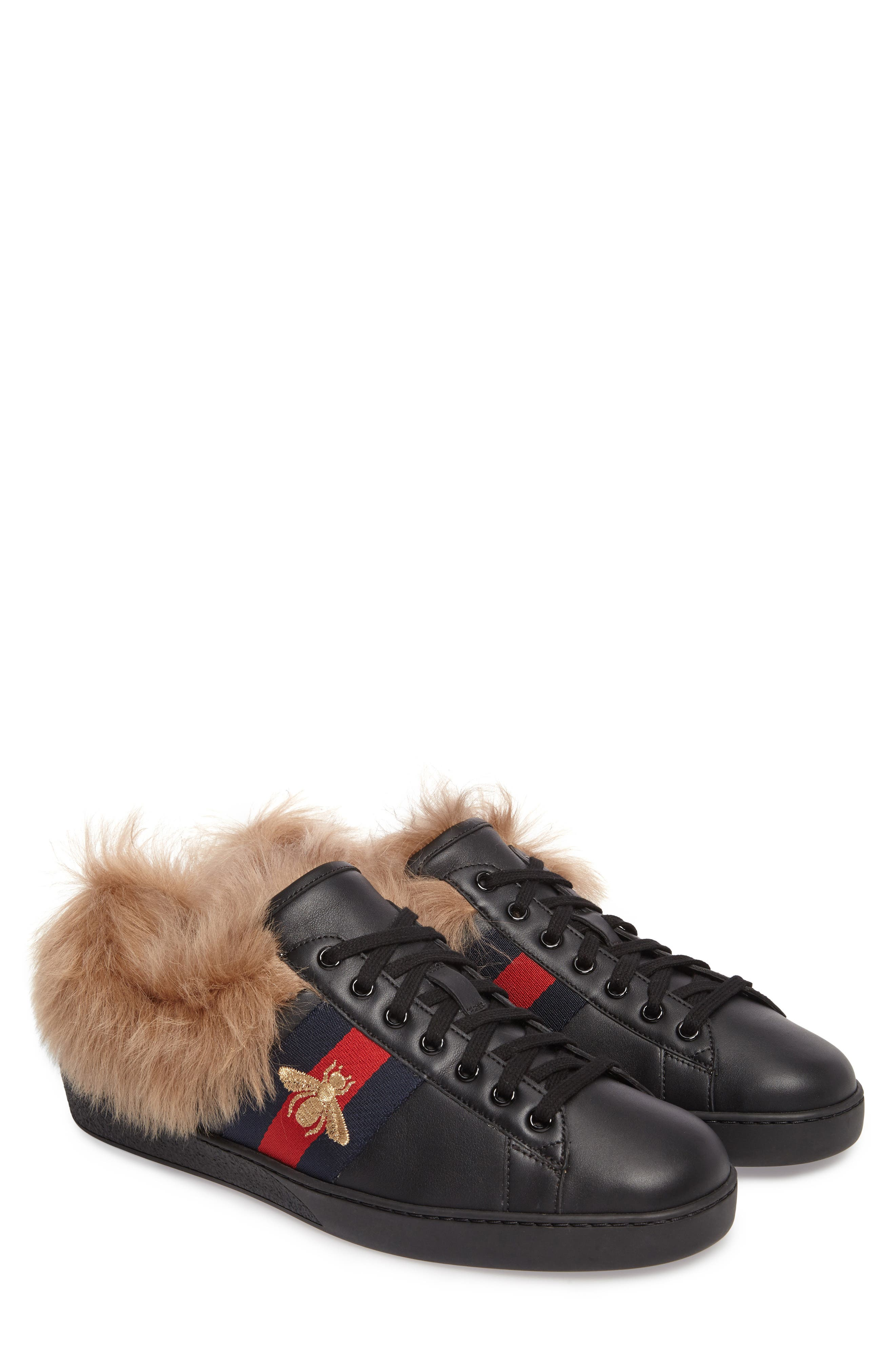 Alternate Image 1 Selected - Gucci New Ace Genuine Shearling Bee Sneaker (Men)