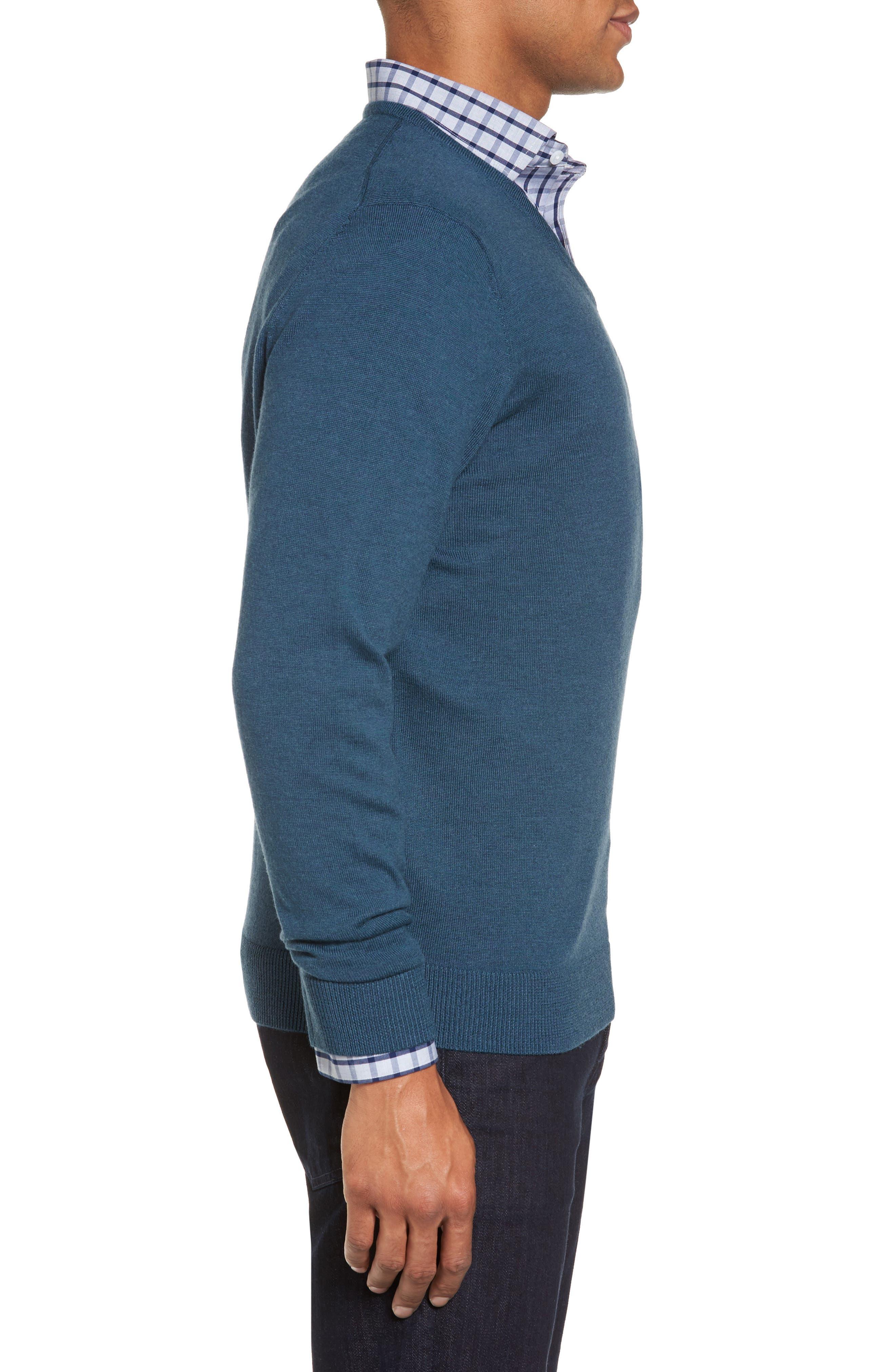 Alternate Image 3  - Nordstrom Men's Shop V-Neck Merino Wool Sweater (Regular & Tall)