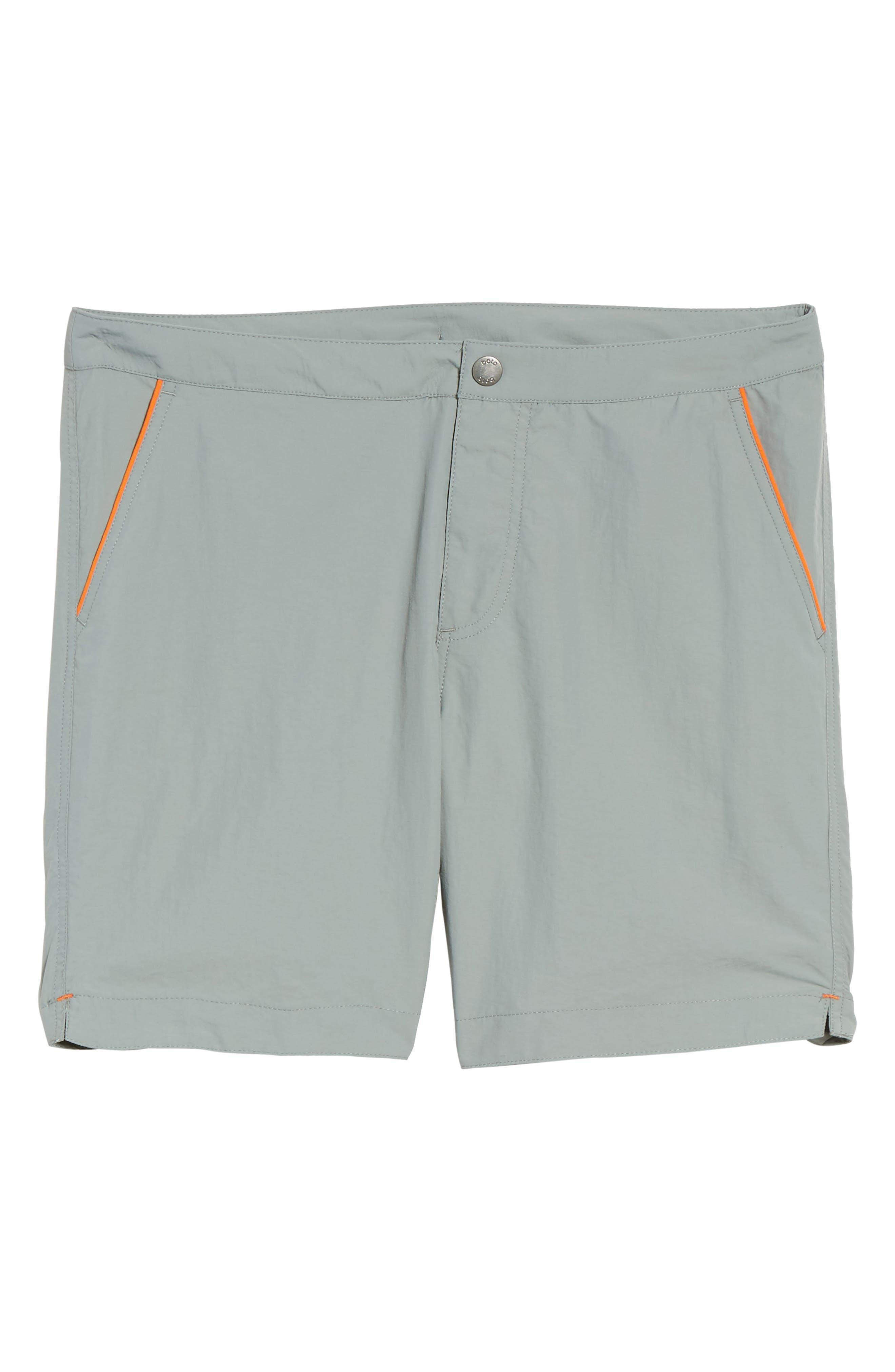 Rio Regular Fit Swim Trunks,                             Alternate thumbnail 6, color,                             Grey Solid