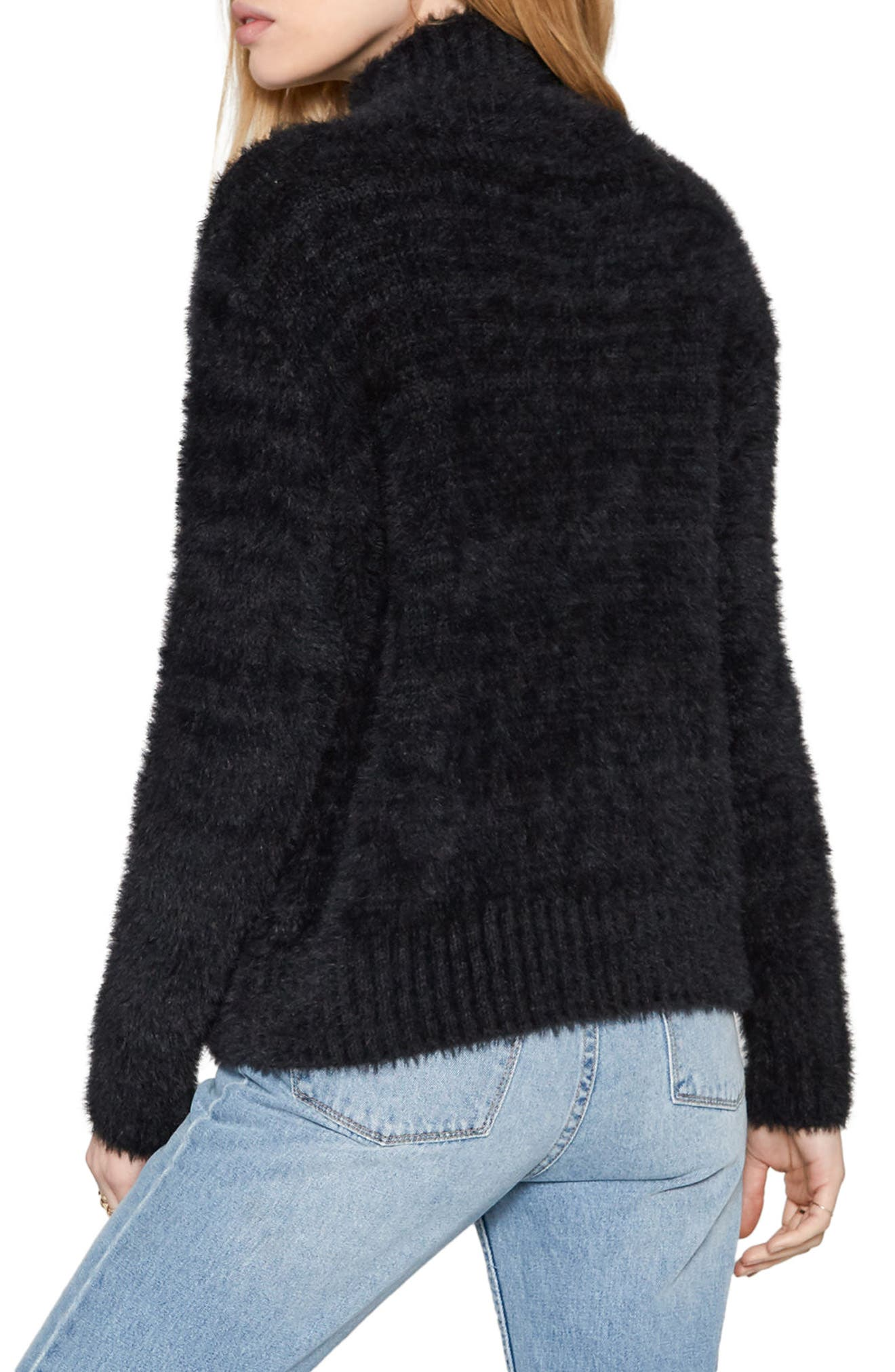 Cool Winds Cable Knit Sweater,                             Alternate thumbnail 3, color,                             Black