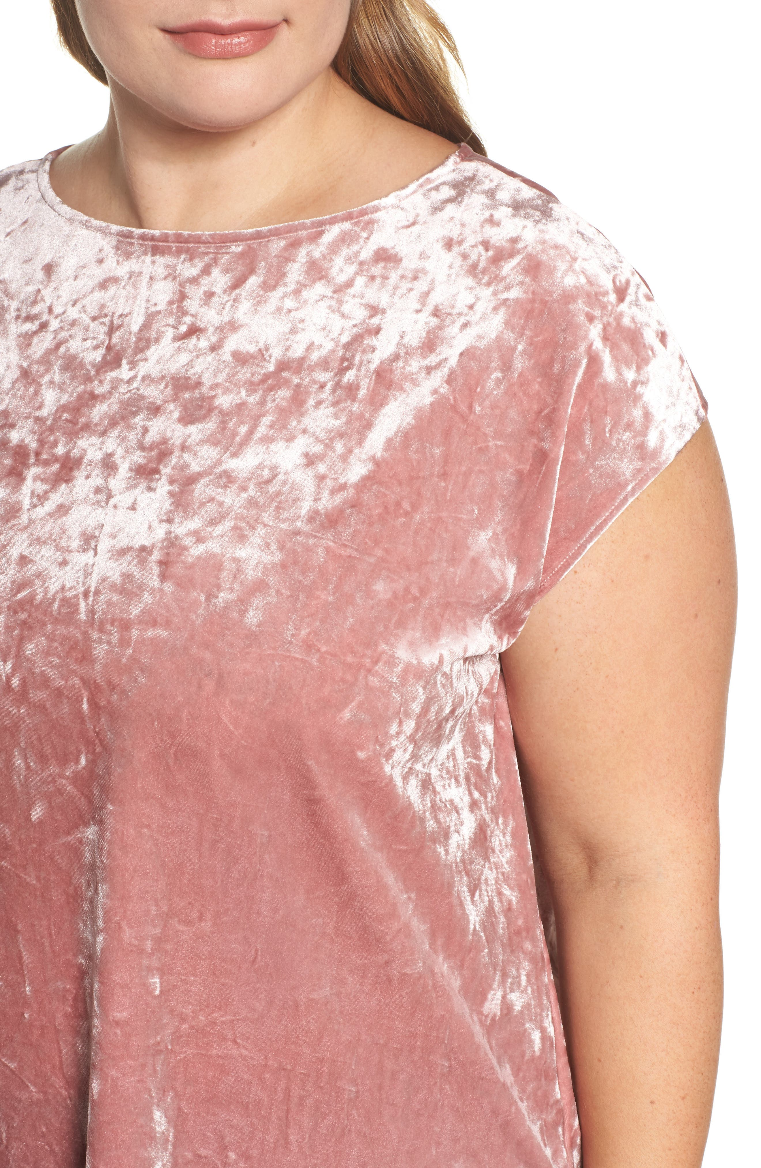 Alternate Image 4  - Vince Camuto Crushed Velvet Knit Tee (Plus Size)