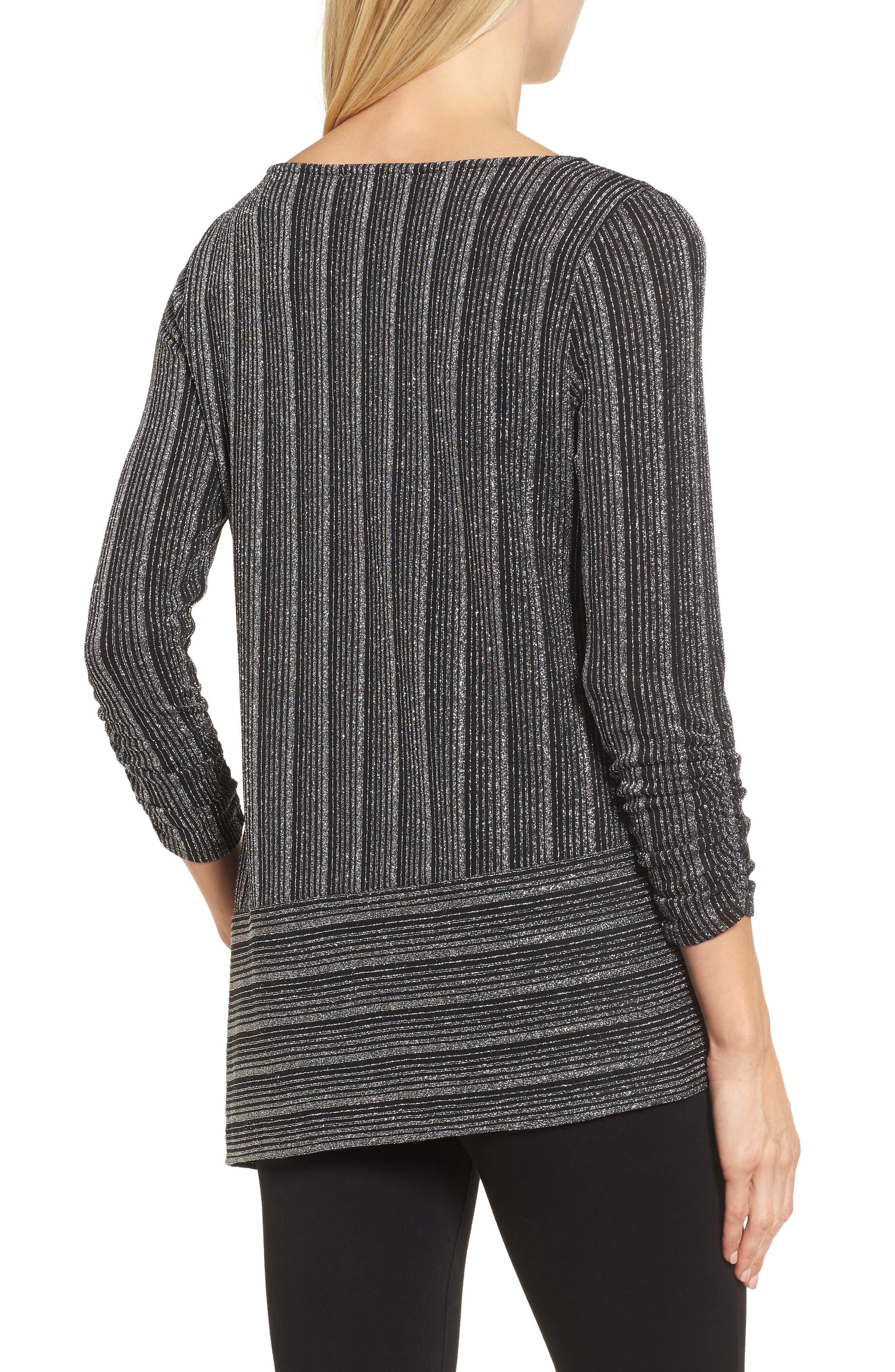 Metallic Stripe Asymmetrical Top,                             Alternate thumbnail 2, color,                             Rich Black