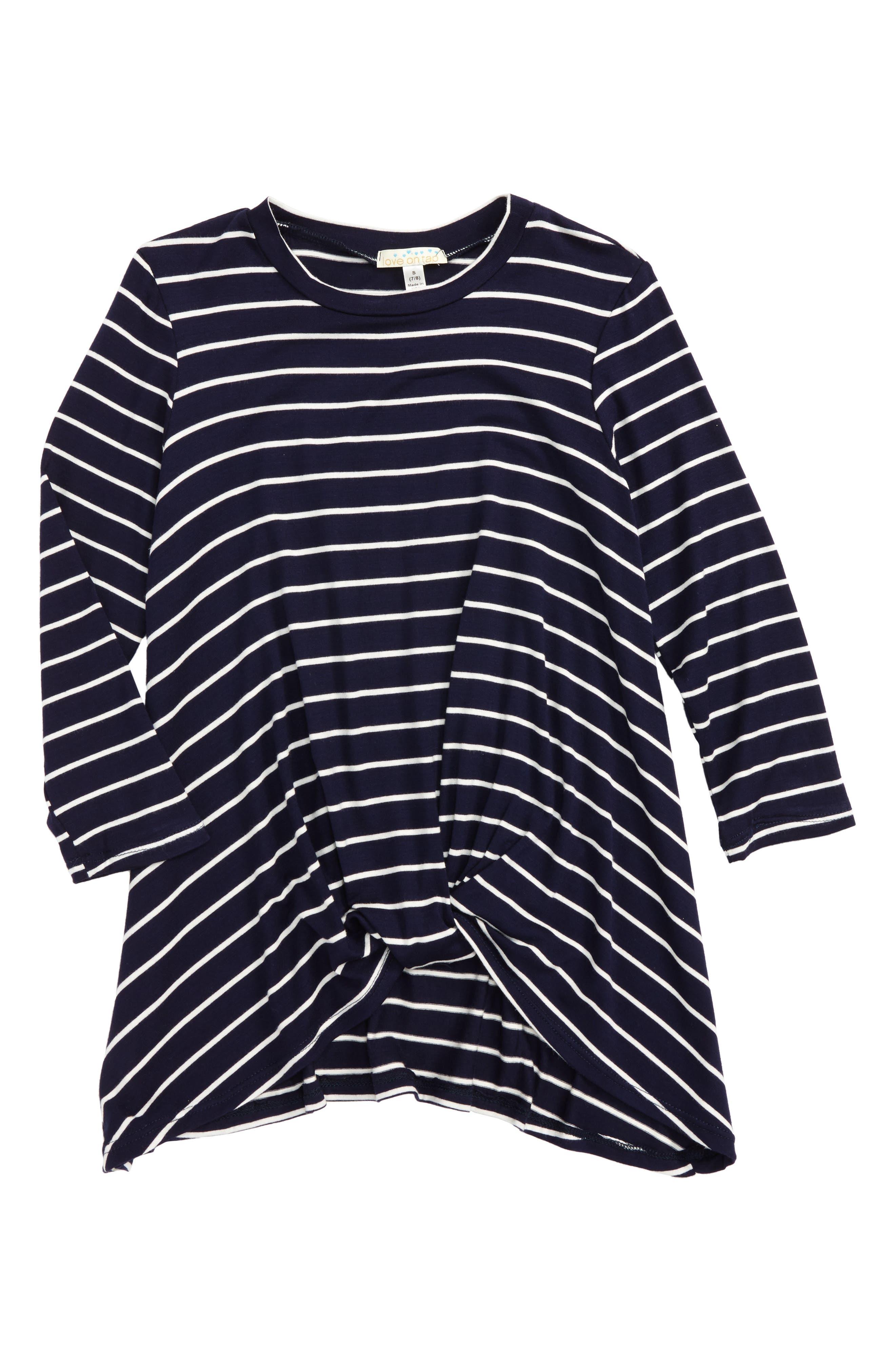 Stripe Tee,                         Main,                         color, Navy/ White