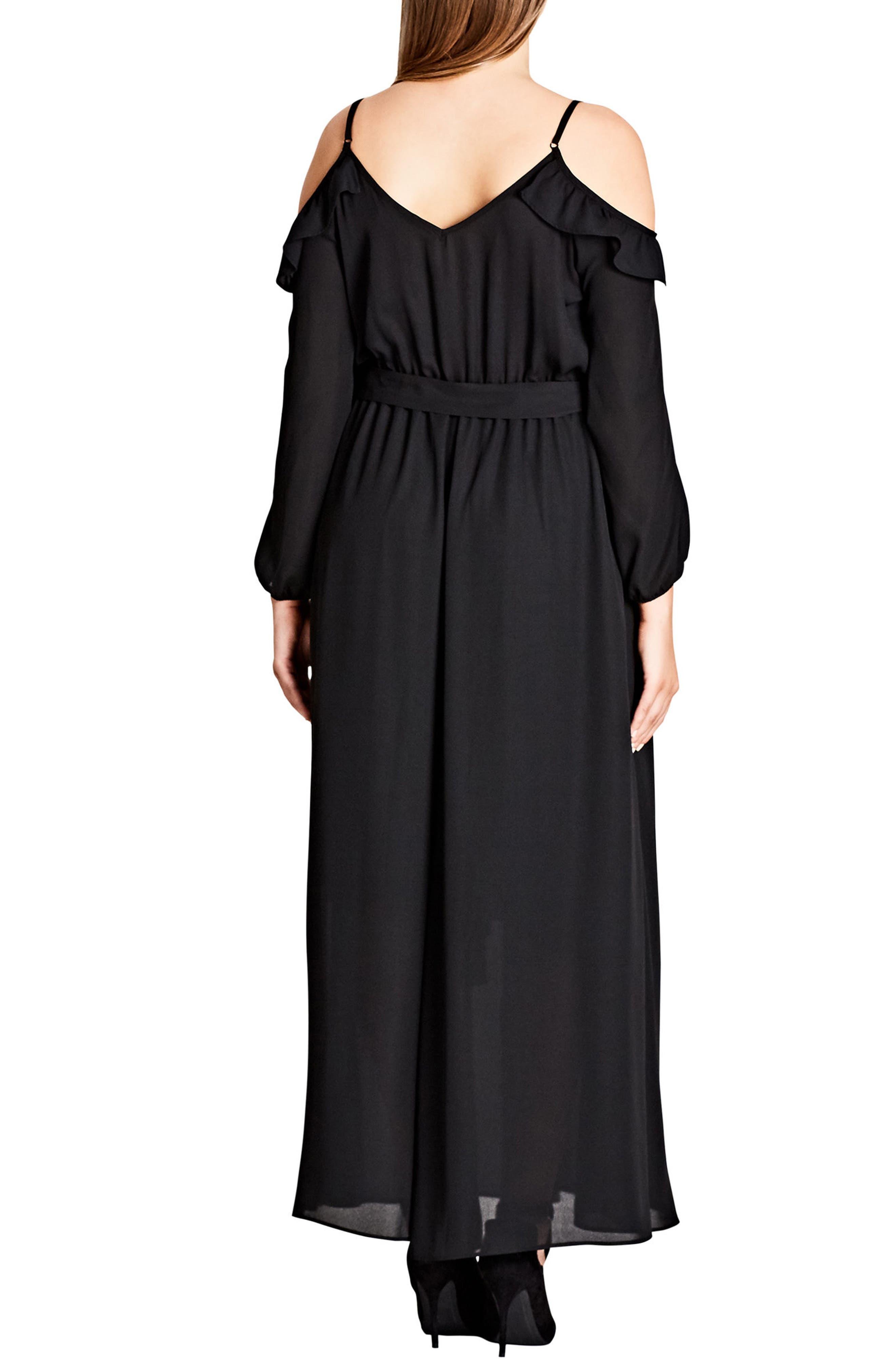 Flirty Cold Shoulder A-Line Maxi Dress,                             Alternate thumbnail 2, color,                             Black