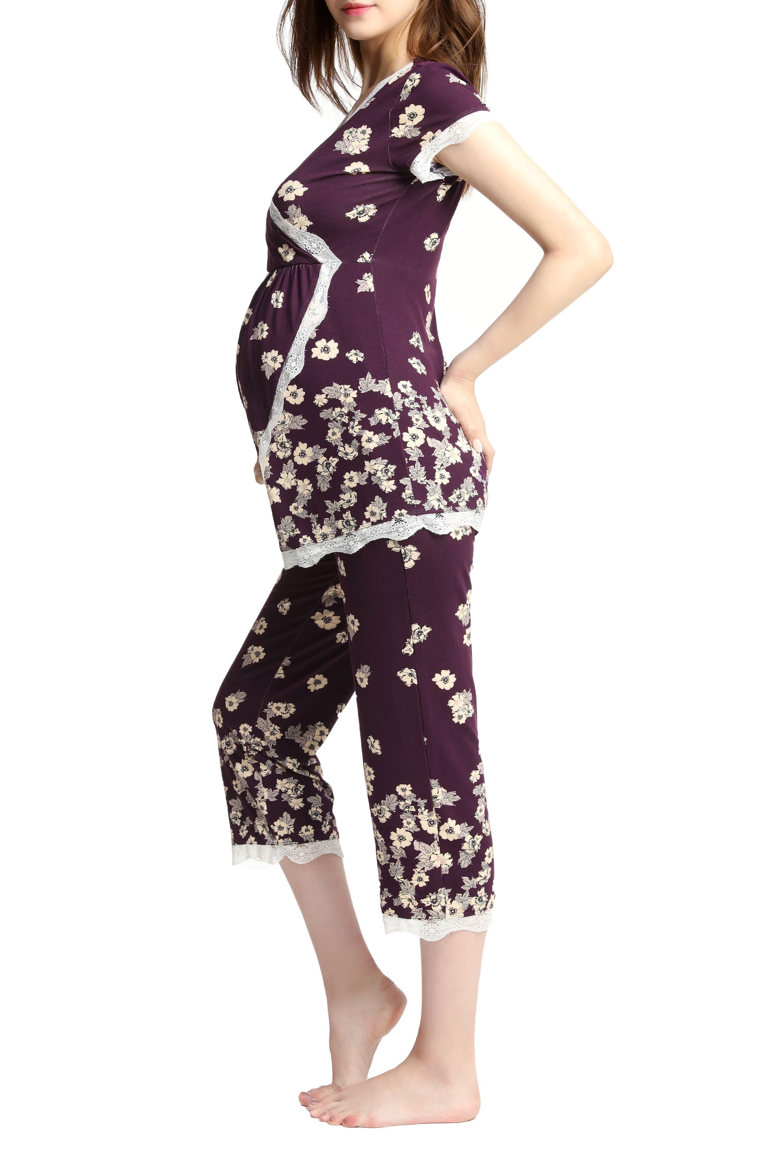 Kimi & Kai Addison Nursing/Maternity Pajamas,                             Alternate thumbnail 3, color,                             Eggplant