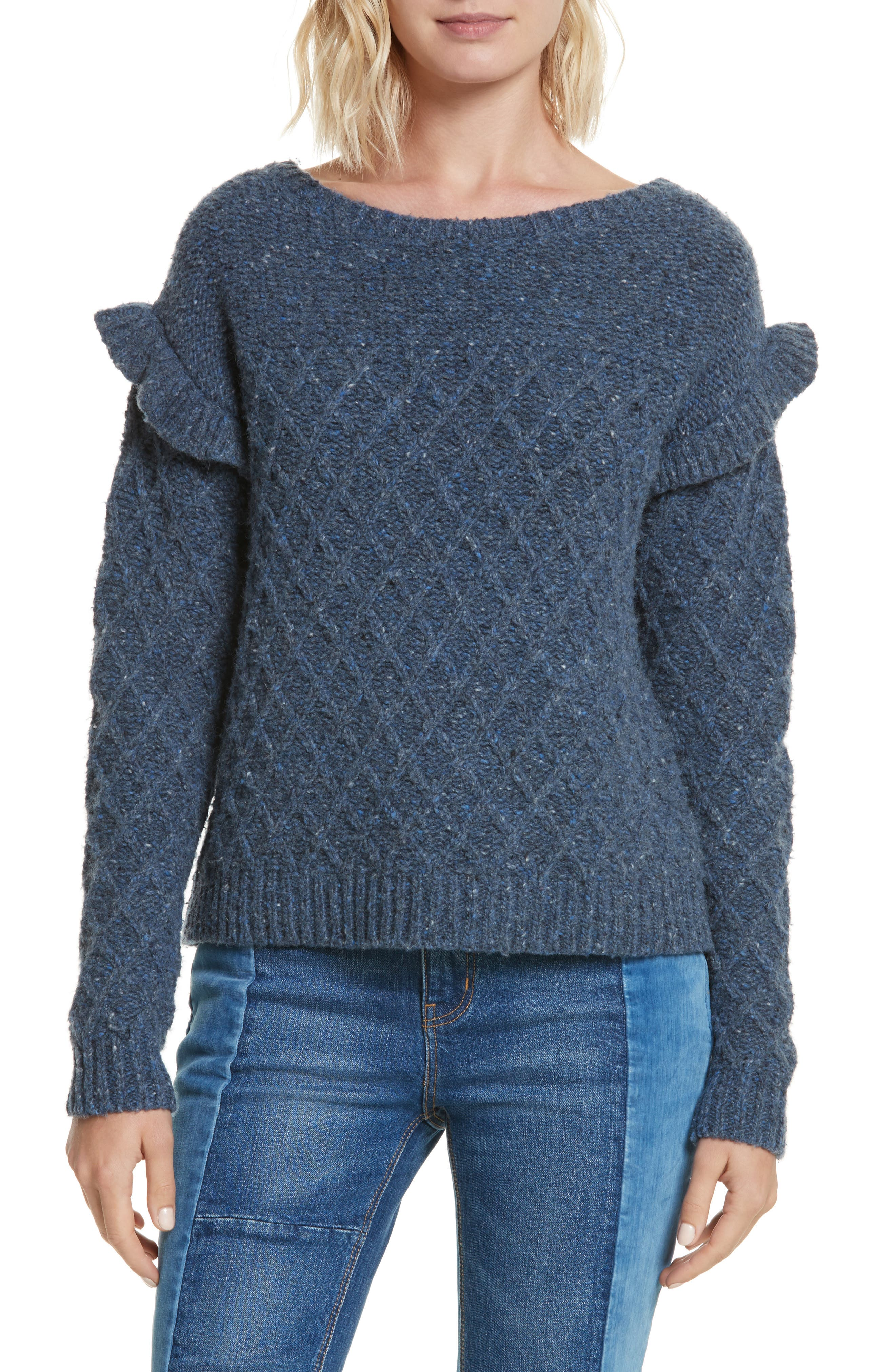 Main Image - La Vie Rebecca Taylor Lattice Stitch Pullover