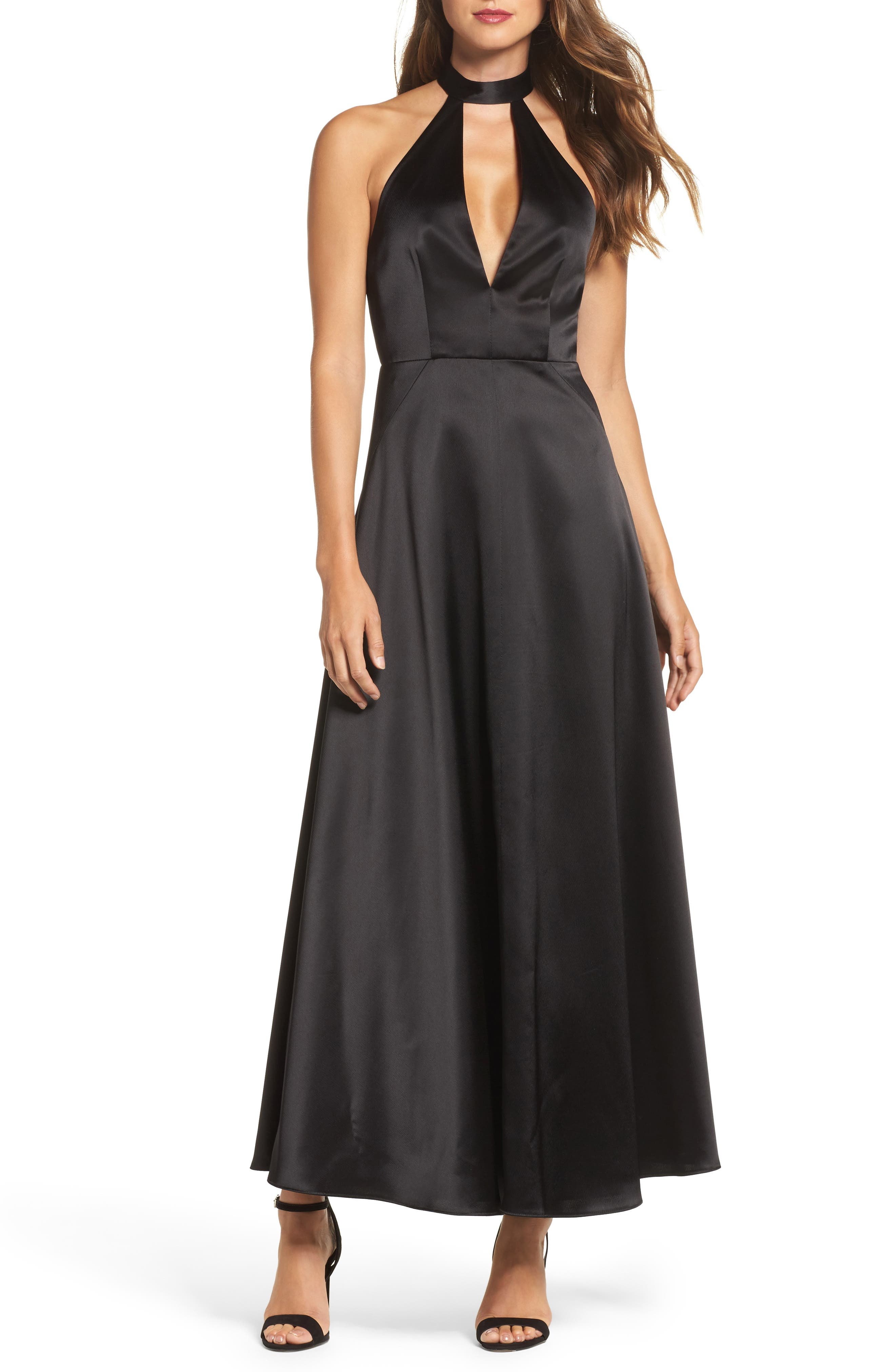 Satin Back Crepe Gown,                         Main,                         color, Black