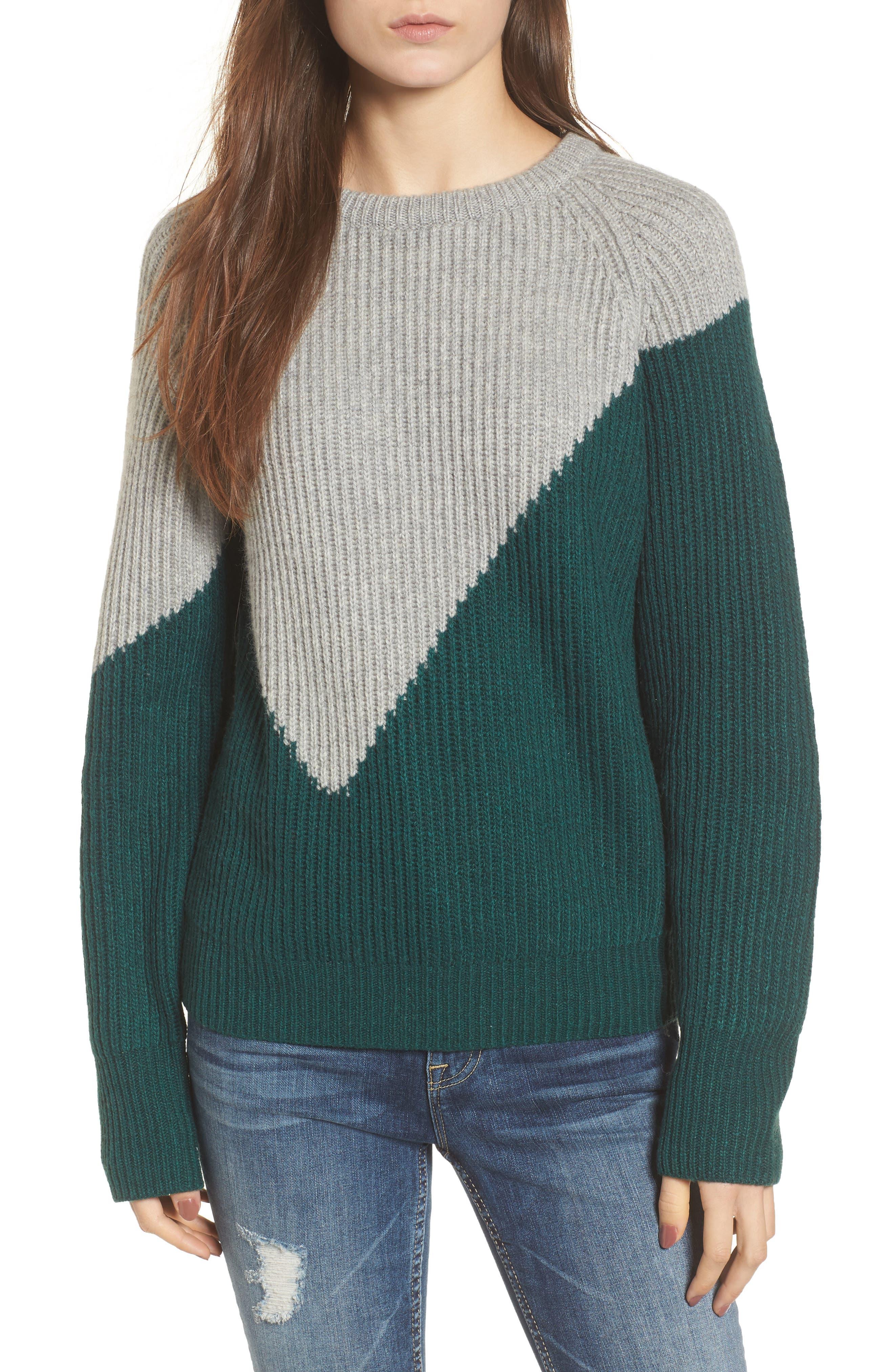 Unbalanced Pattern Wool Blend Sweater,                         Main,                         color, Dark Green