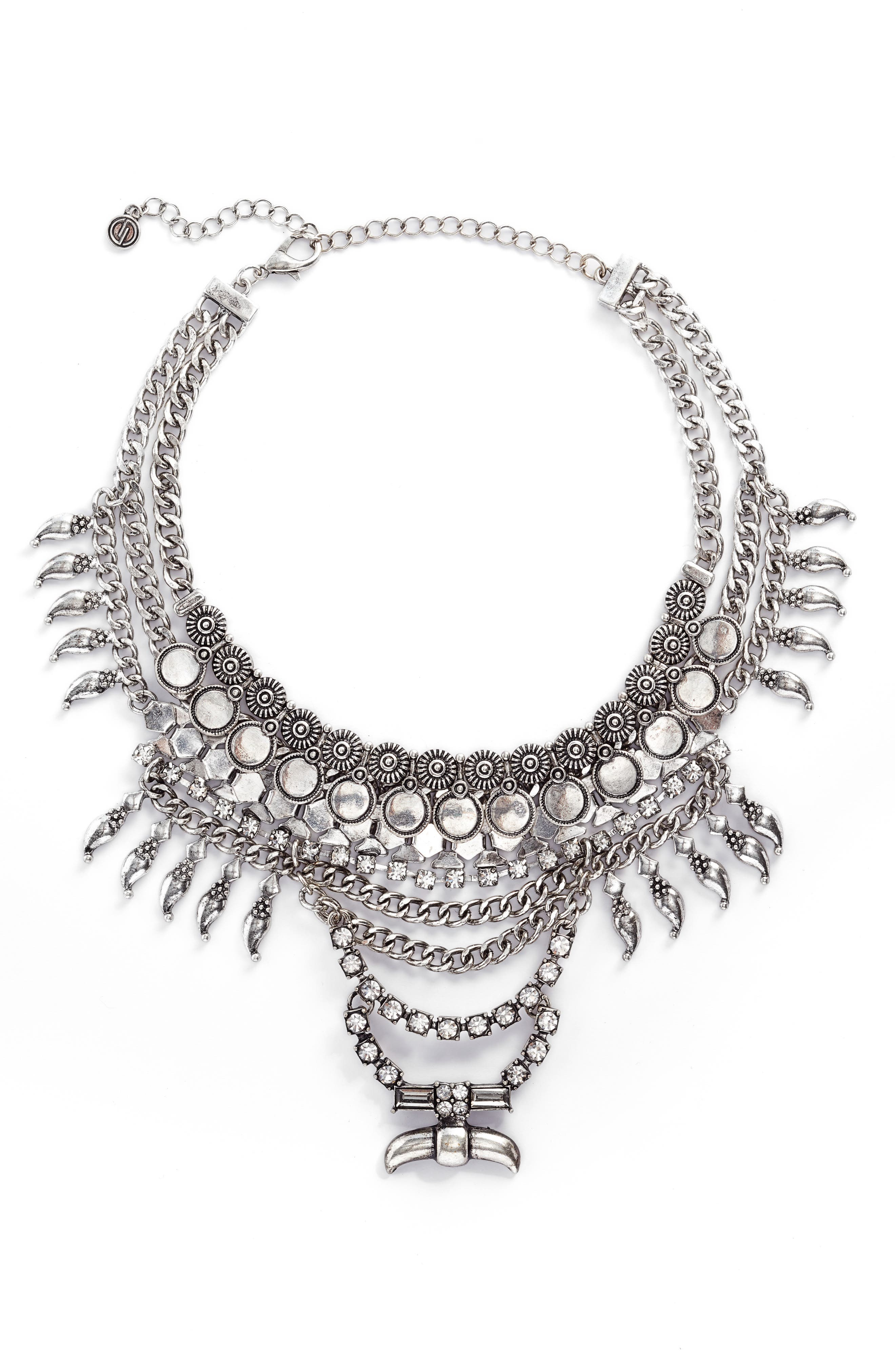 Crystal & Chain Multistrand Necklace,                         Main,                         color, Antiqued Silver
