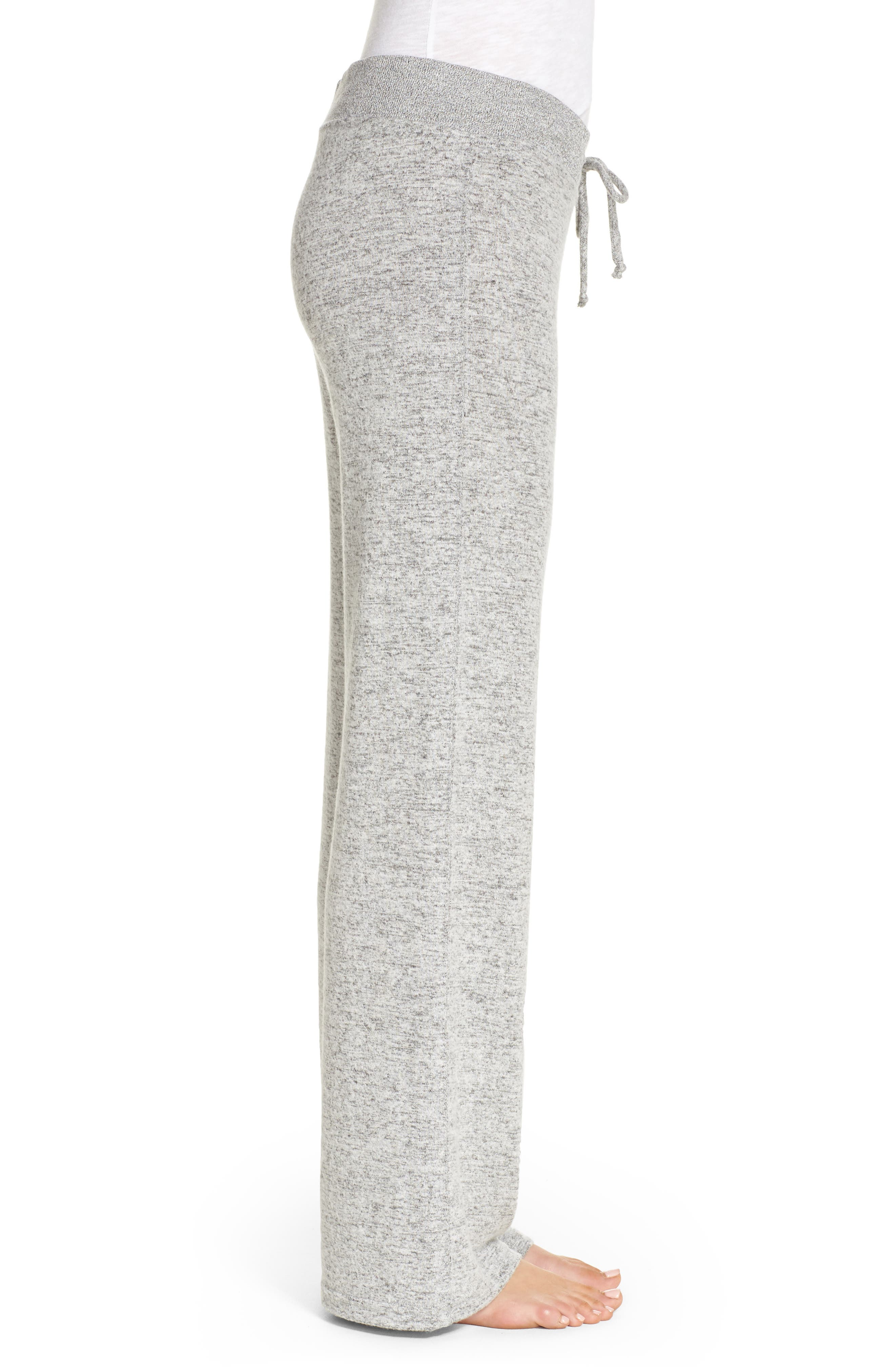 Best Boyfriend Brushed Hacci Lounge Pants,                             Alternate thumbnail 3, color,                             Grey Flannel Marl