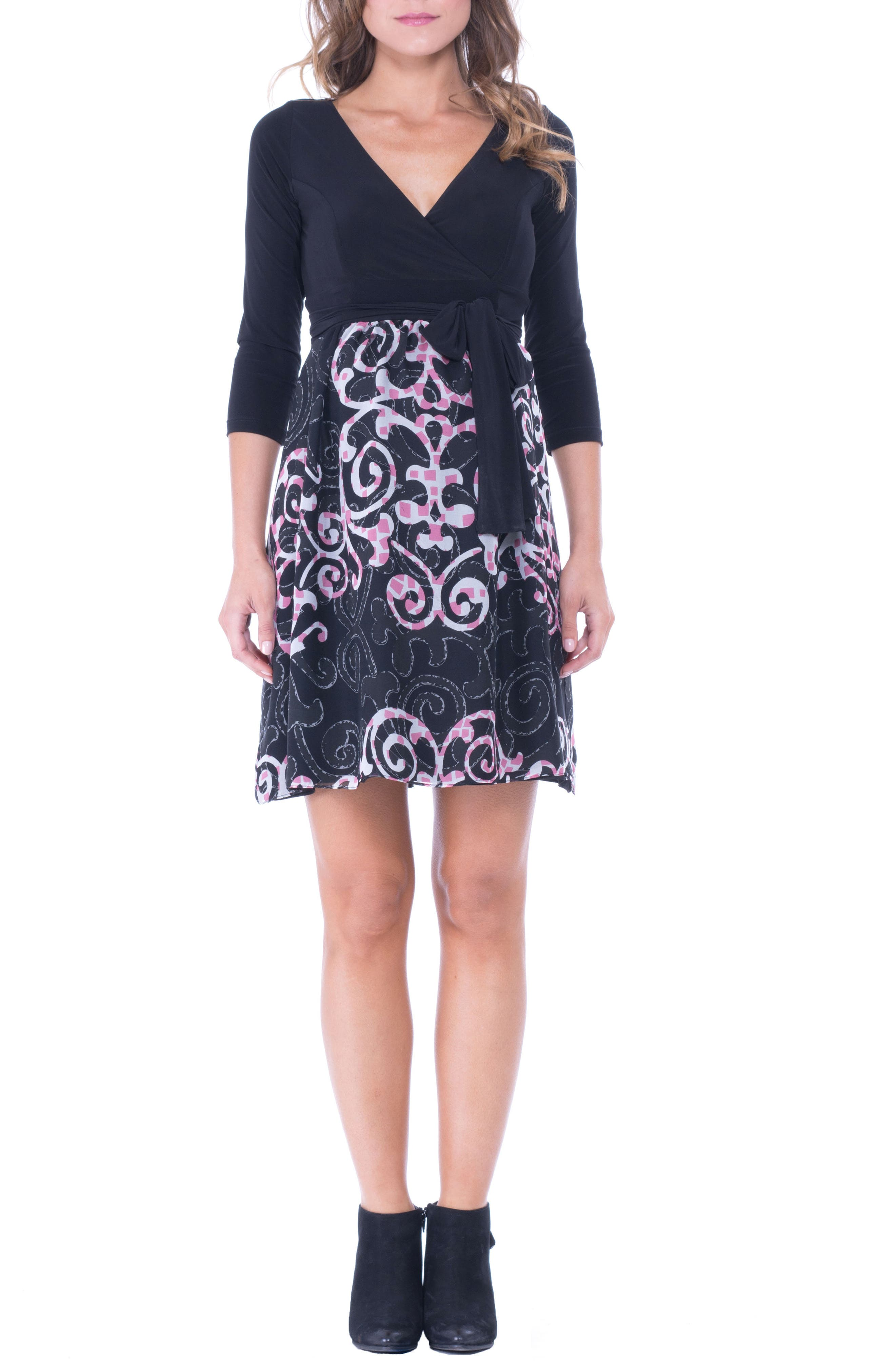 Main Image - Olian Print Faux Wrap Maternity Dress