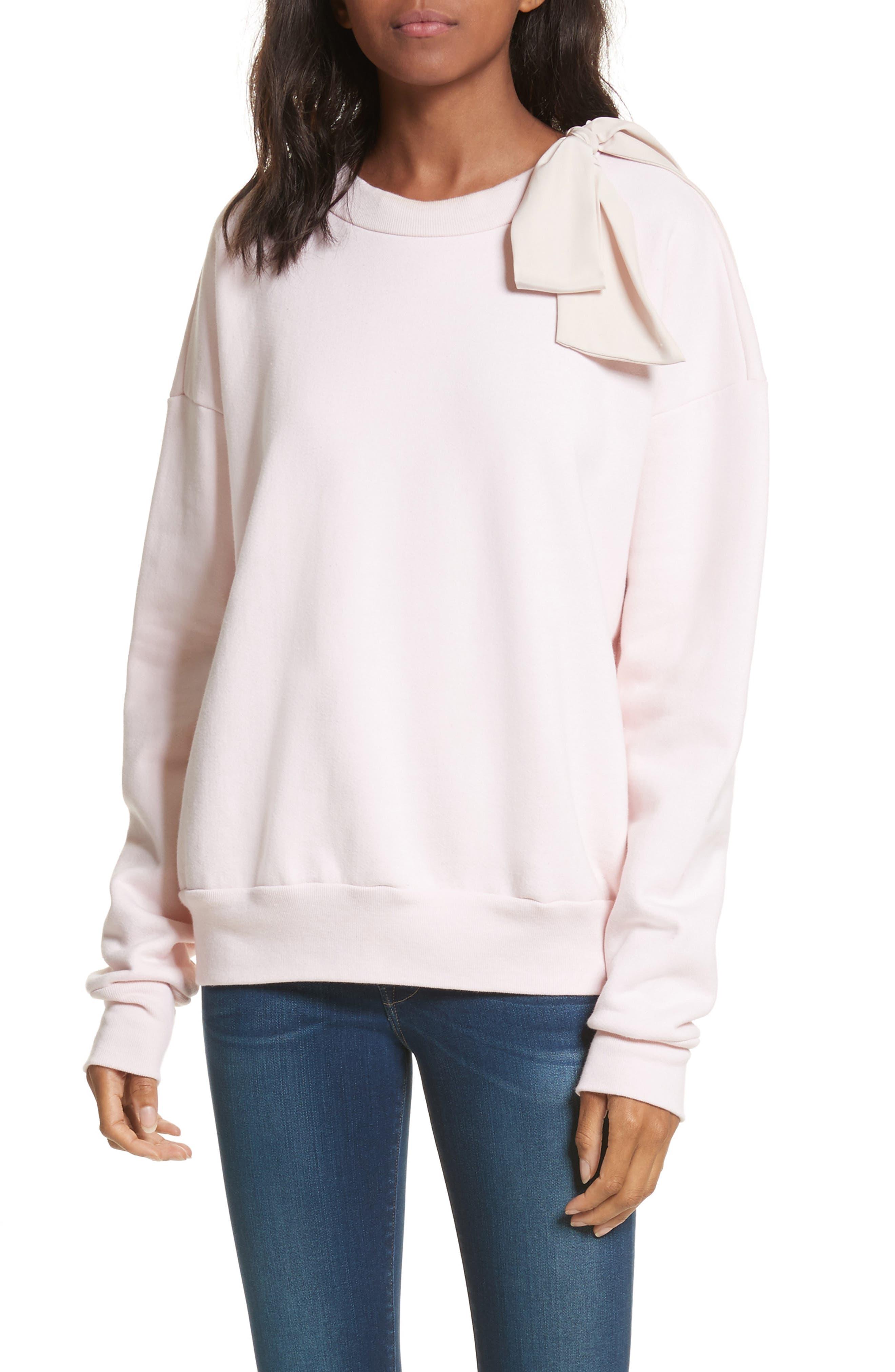 Bow Sweatshirt,                         Main,                         color, Light Pink Exclusive