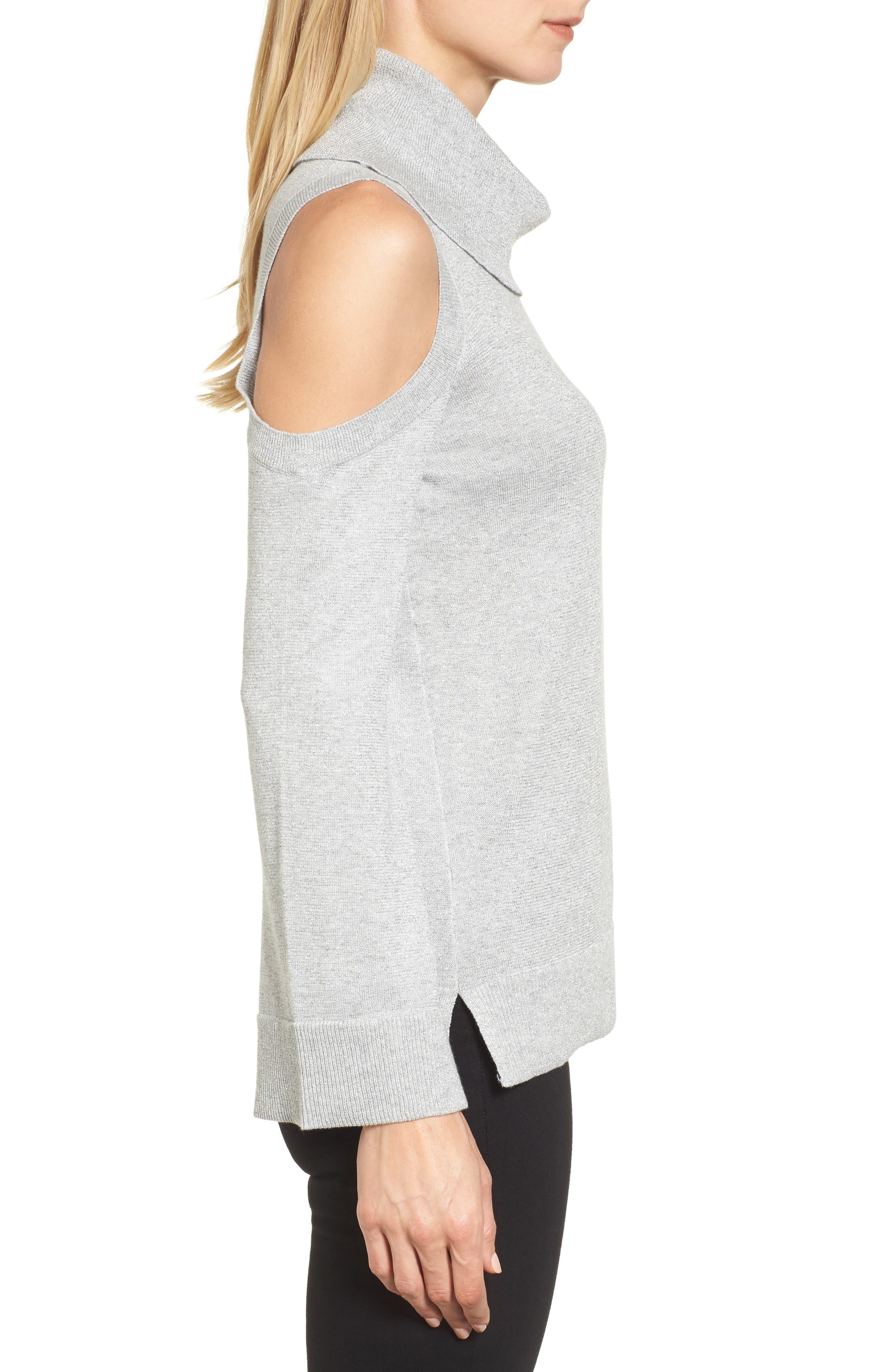 Alternate Image 3  - Chaus Metallic Cold Shoulder Cowl Neck Sweater